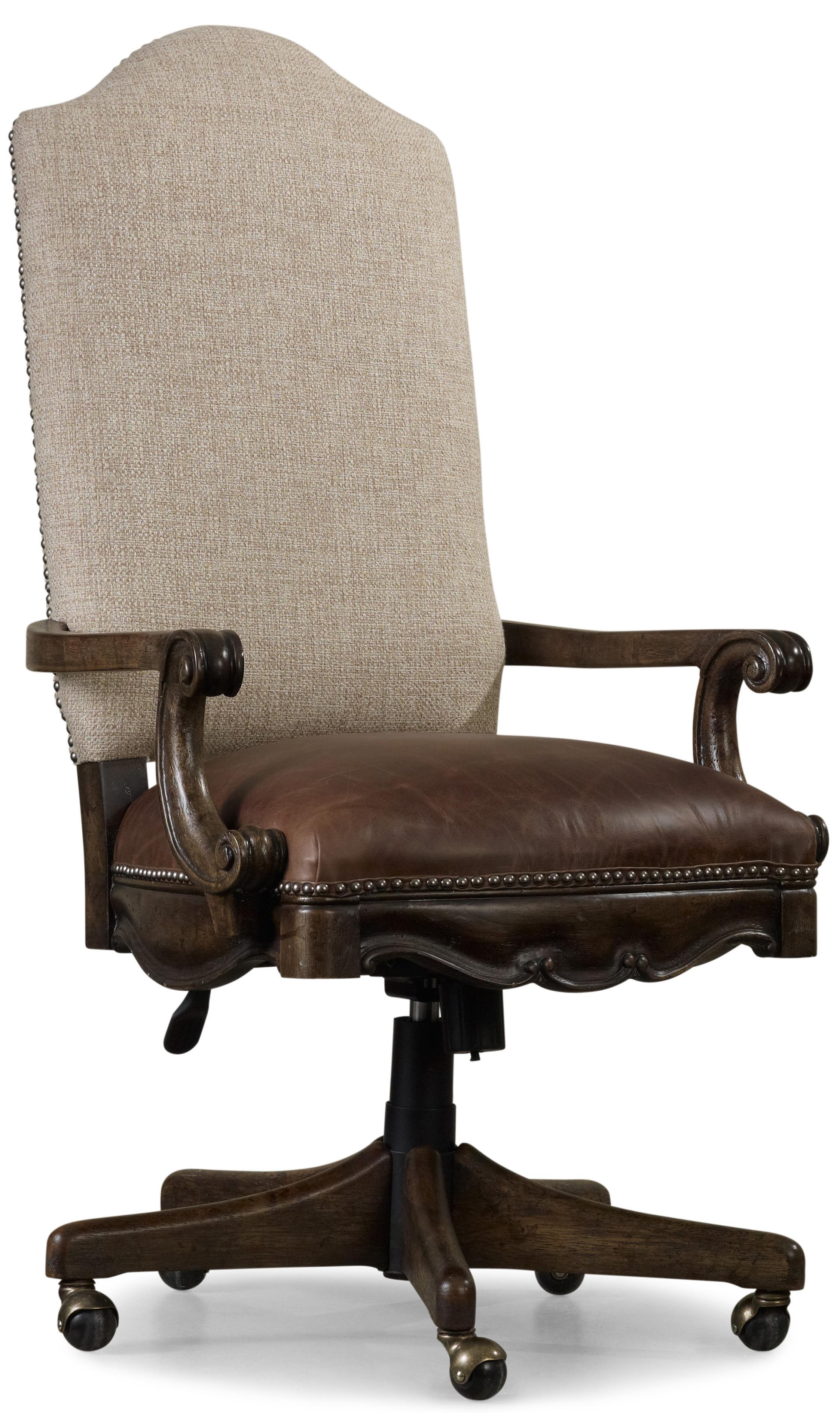 hooker leather chair mid century office furniture rhapsody tilt swivel with