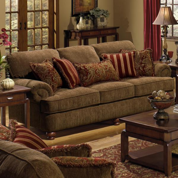 Brown Leather Couch with Throw Pillow Red
