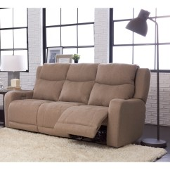 Klaussner Grand Power Reclining Sofa Corner Leather Brown Barnett With Headrest