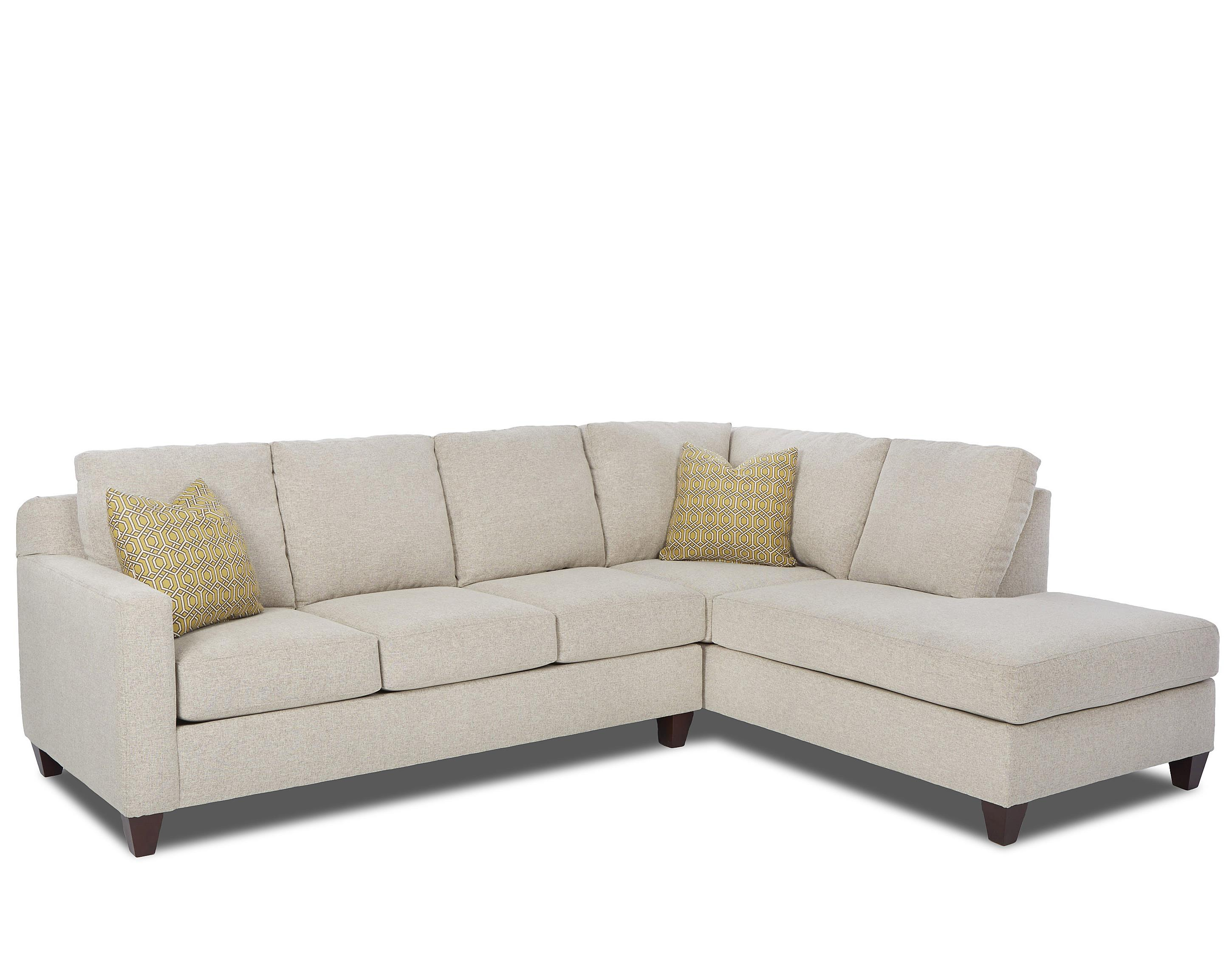 2 piece sectional sofa chaise how to clean wash klaussner bosco contemporary with right