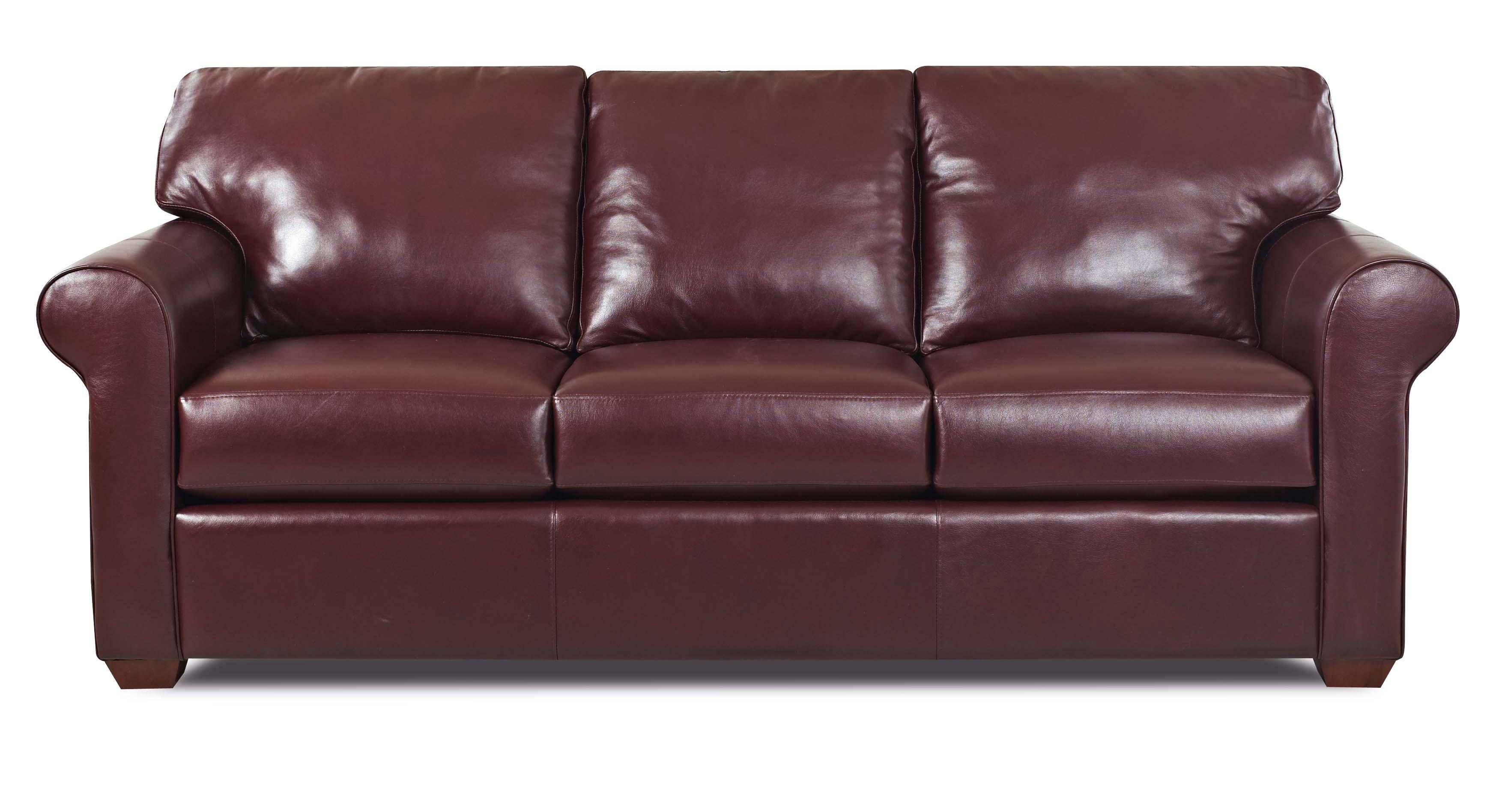sofa wood frame exposed uk bad boy warranty klaussner canoy transitional with rolled arms and