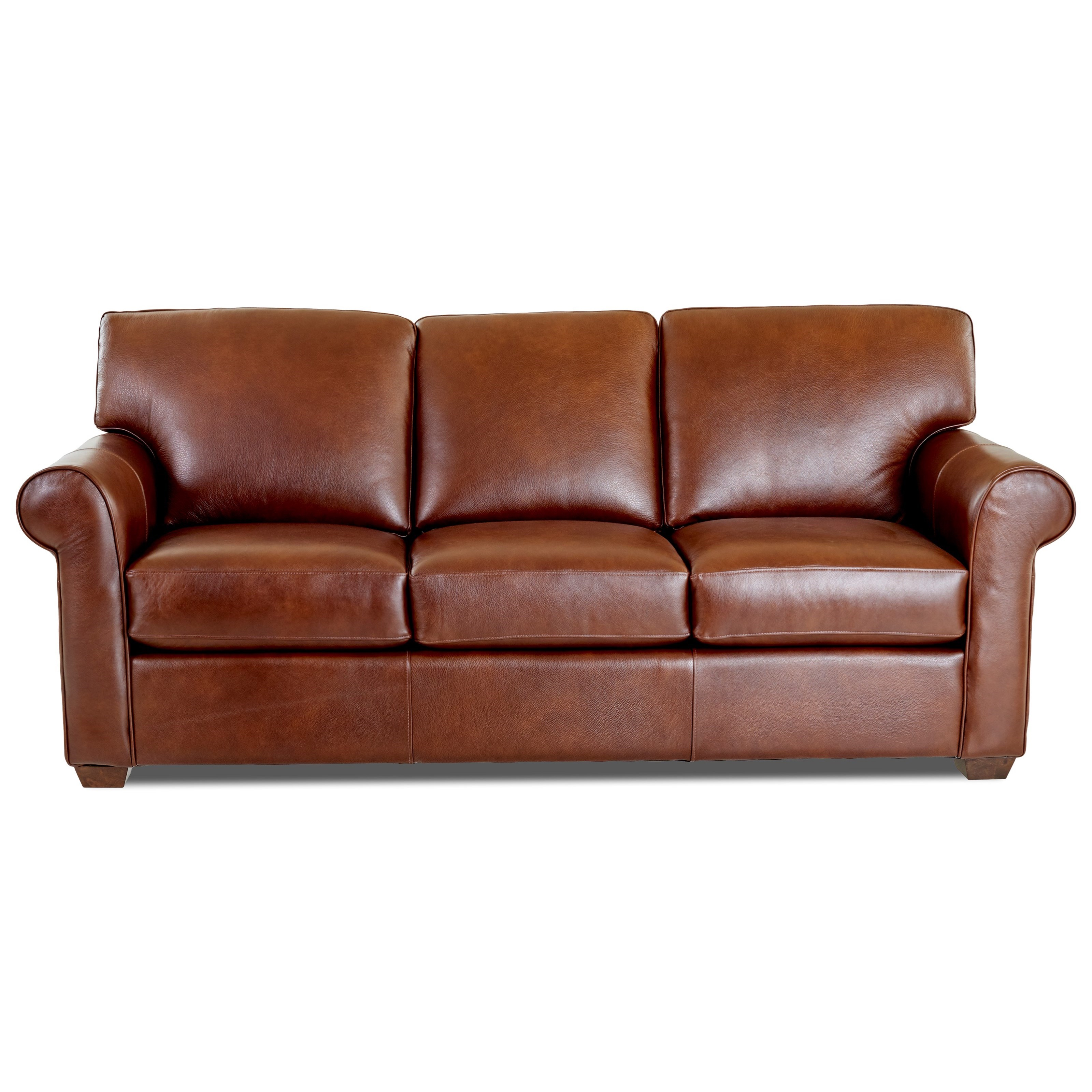 sofa wood frame exposed uk foam cushion for sofas klaussner canoy transitional with rolled arms and