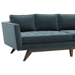 Angled Sofa Legs Curved Sectional Sofas Fabric Klaussner Fairfax Mid Century Modern Style With
