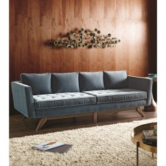 Angled Sofa Legs Franklin Leather Klaussner Fairfax Mid Century Modern Style With
