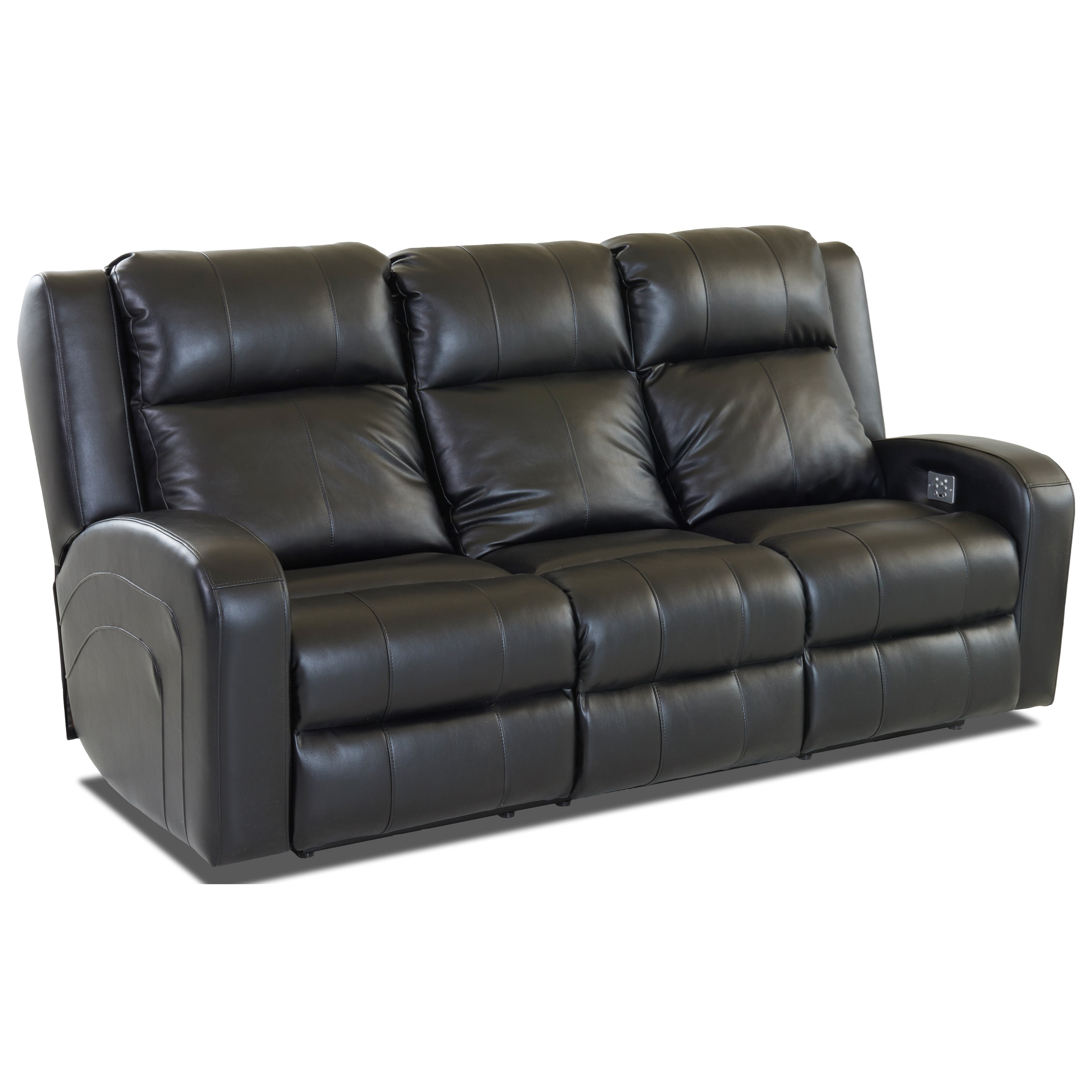 two cushion power reclining sofa leather company klaussner robinson casual value