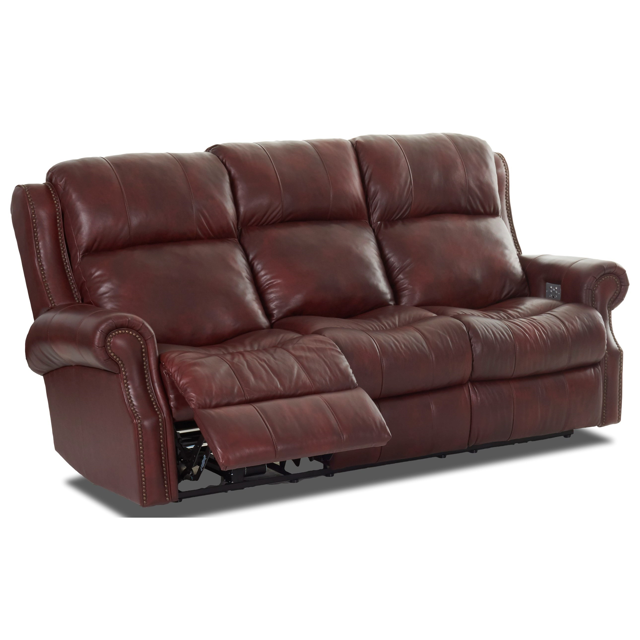 klaussner grand power reclining sofa simmons sunflower brown chaise vivio traditional with