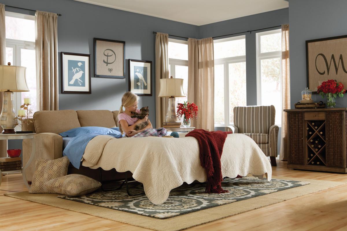 la z boy diana sleeper sofa small denim sectional transtional supreme comfort queen sleep