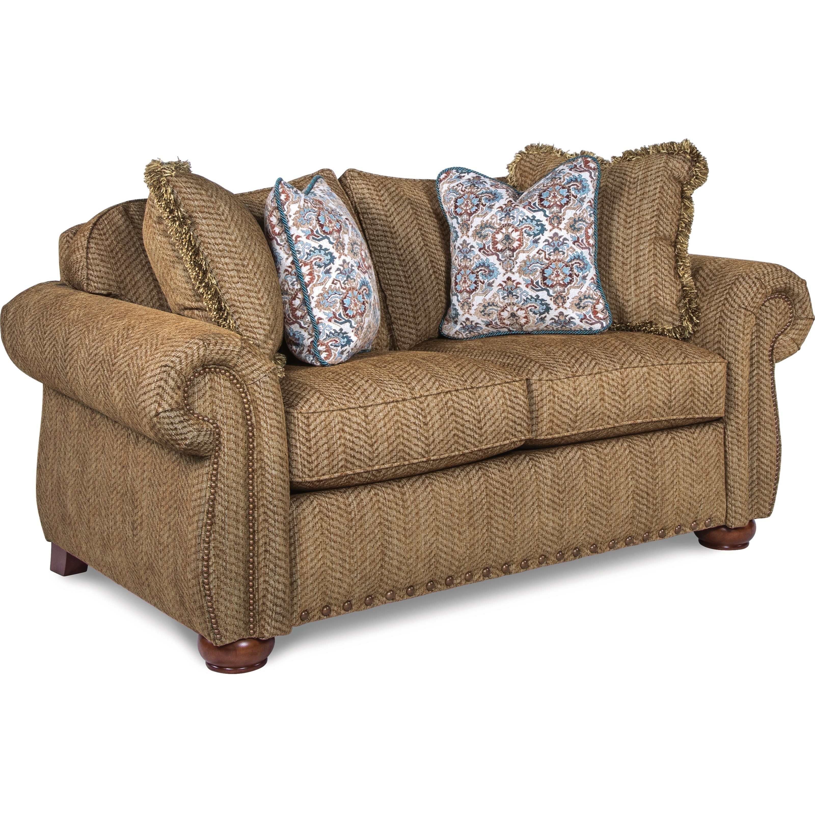 sofa sofas wales wooden sets online india la z boy traditional loveseat with rolled arms and