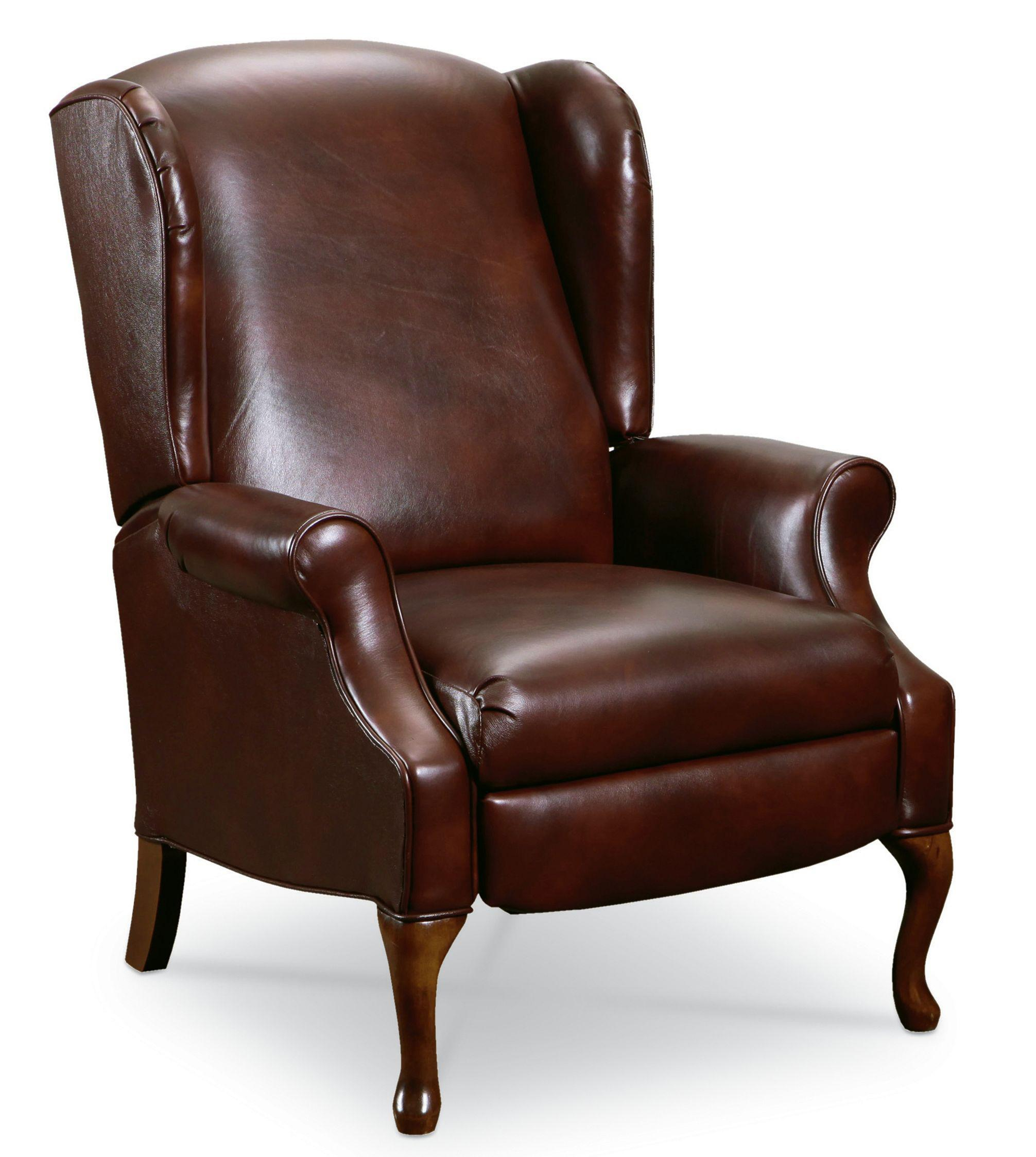 traditional leather wingback chair vintage queen anne lane hampton 2581 high leg recliner with
