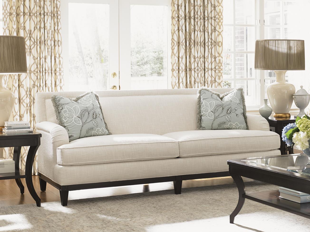 sofa wood frame exposed uk beige color lexington kensington place transitional aubrey with