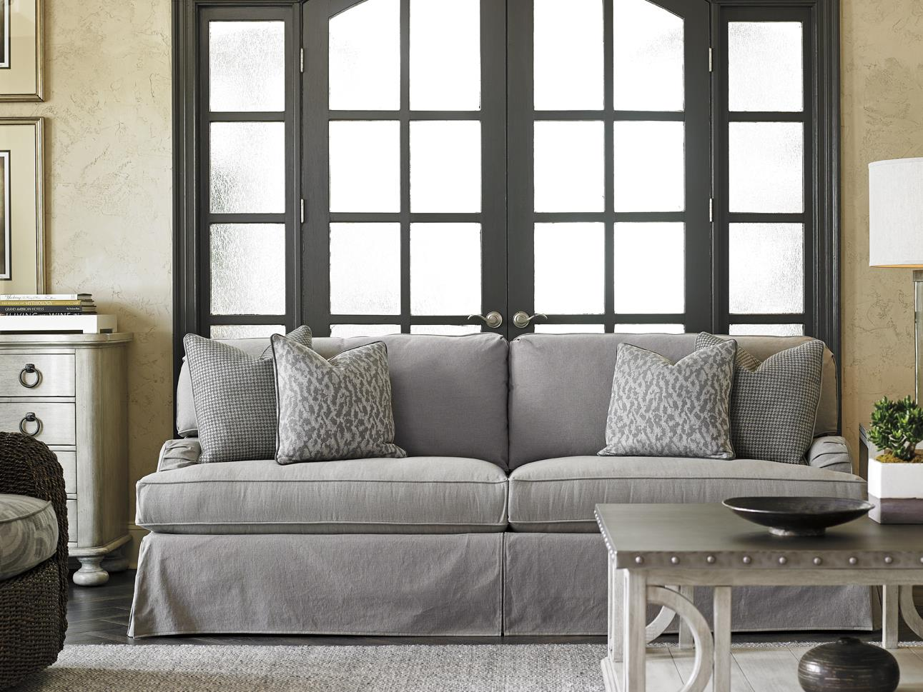 gray chair and ottoman slipcovers argos deck covers lexington oyster bay stowe slipcover sofa in