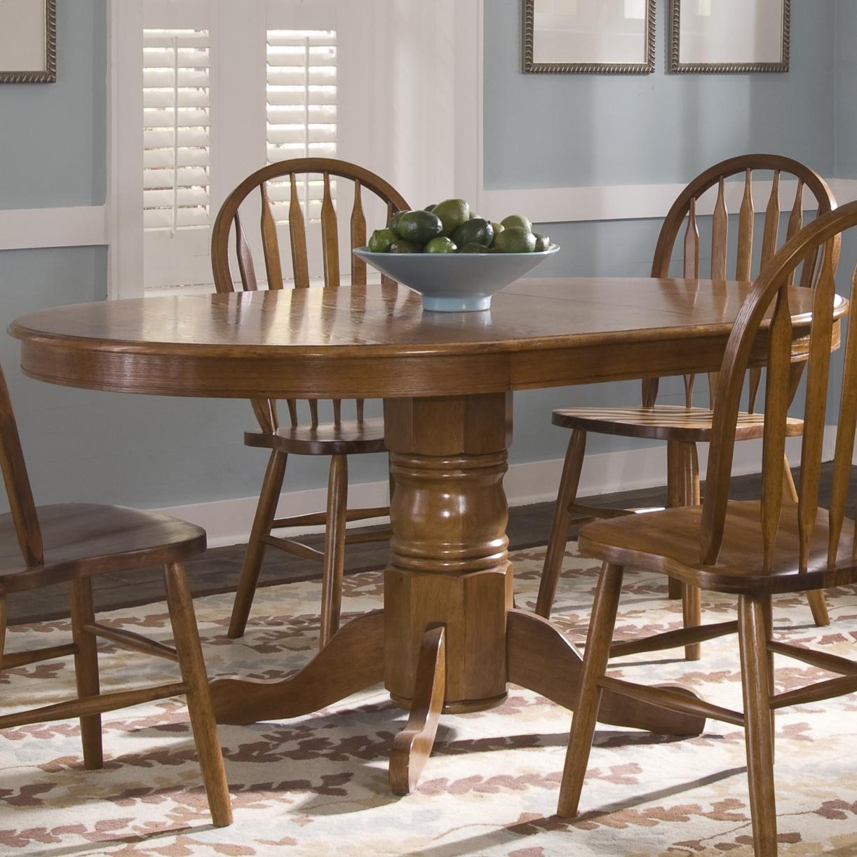 pedestal table and chairs mesh desk chair liberty furniture nostalgia oval dinner