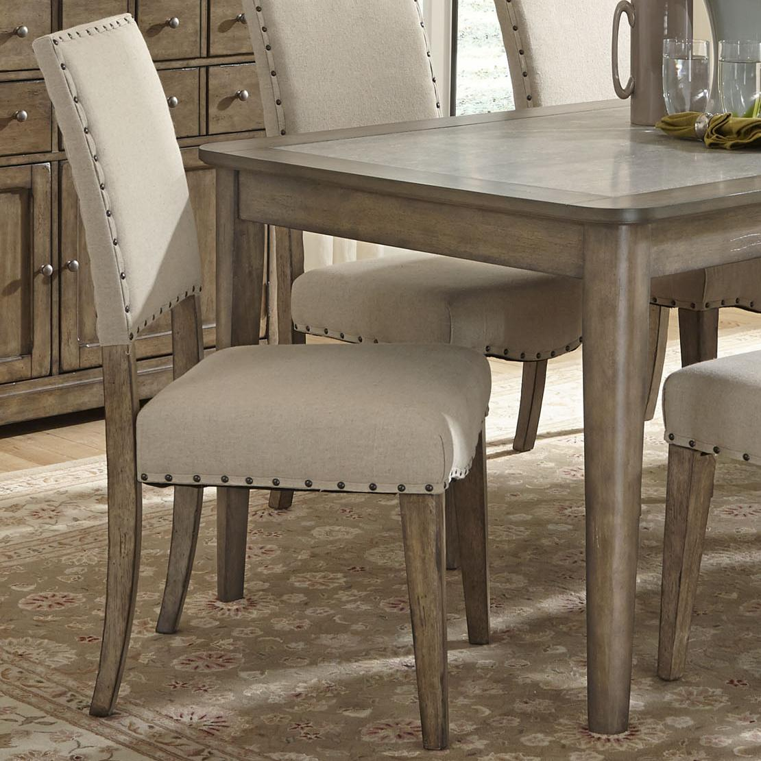 nailhead upholstered dining chair comfortable chairs for reading liberty furniture weatherford rustic casual