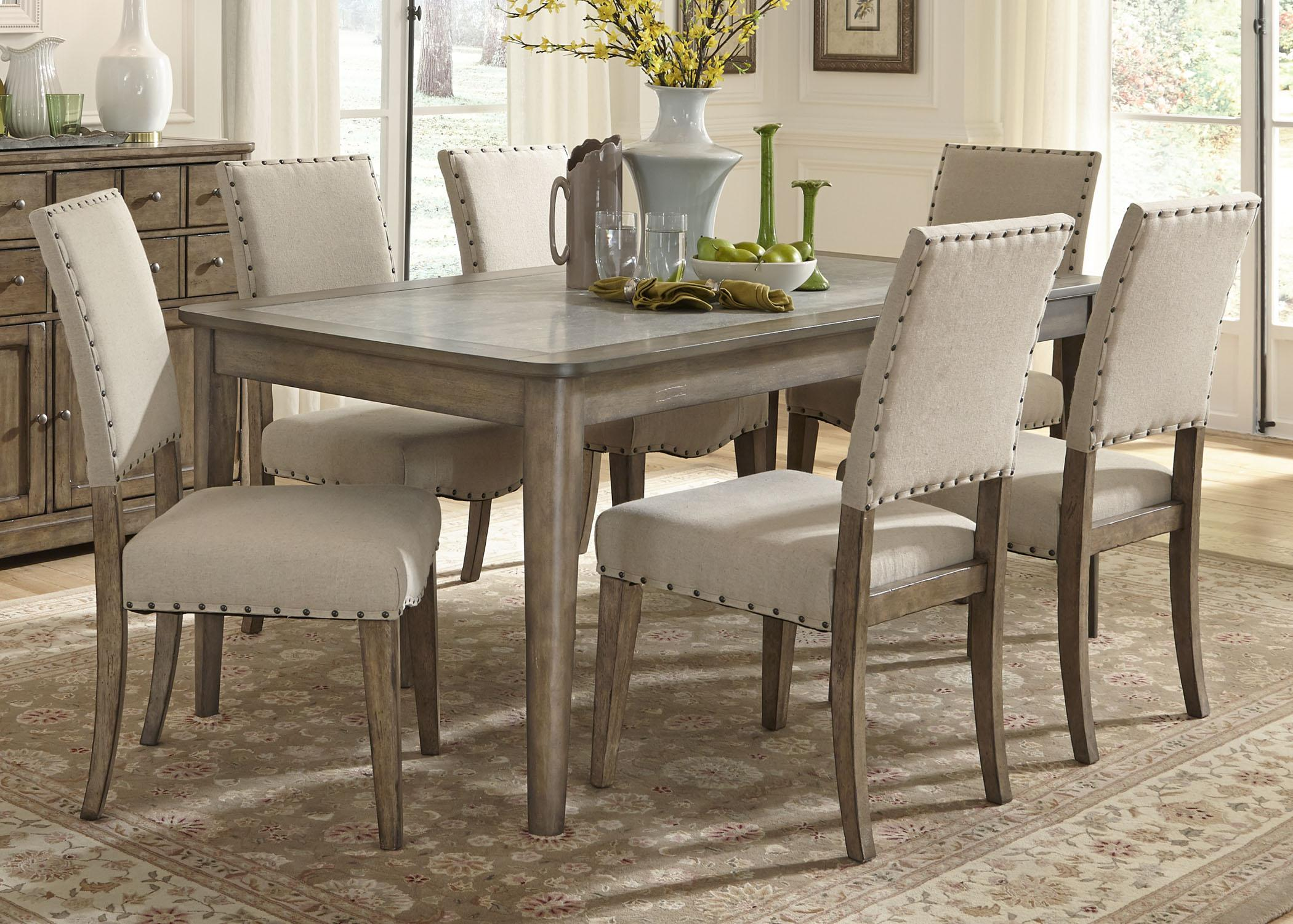 breakfast table and chairs set 14 inch round chair cushions liberty furniture weatherford casual rustic 7 piece dining