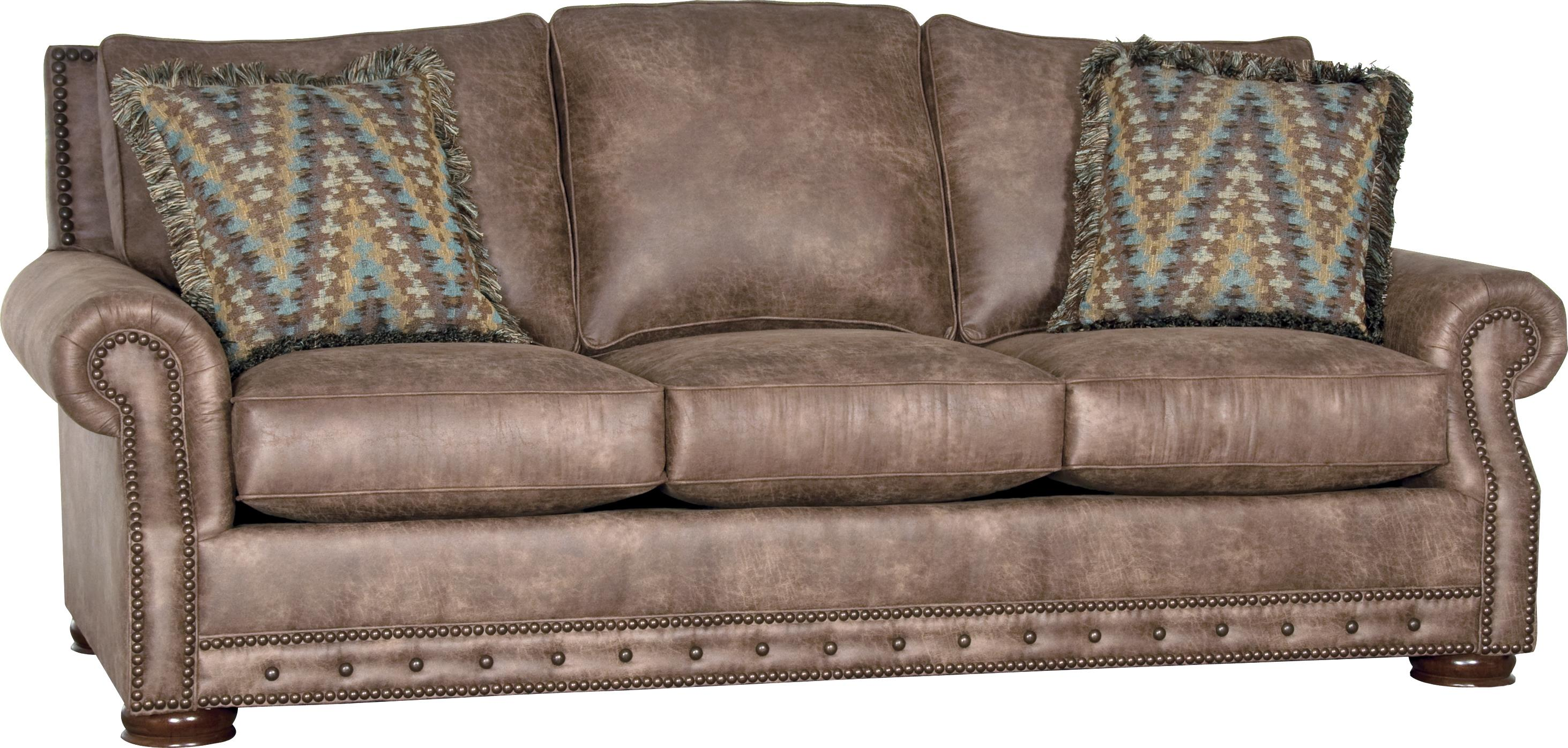 rolled arm sofa with nailhead trim tan leather in living room mayo 2900 w olinde 39s