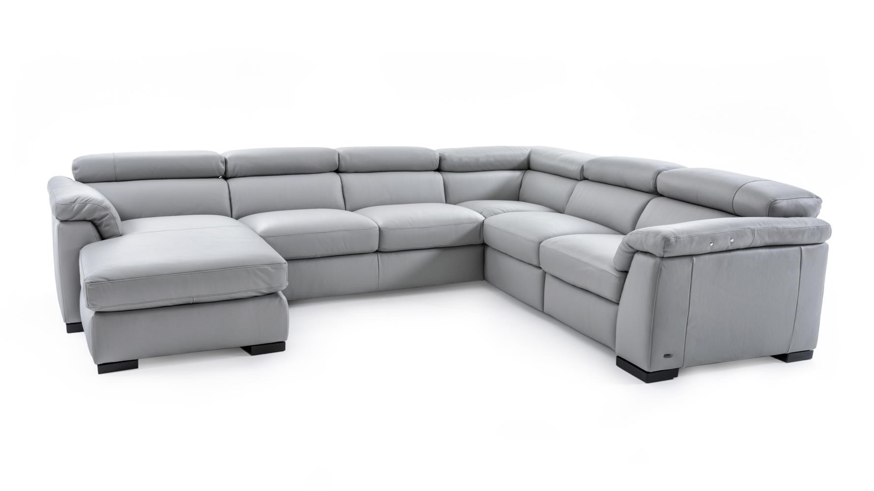 leather sofa with chaise and recliner lazy boy sofas sleeper natuzzi editions b634 sect 1 gray contemporary