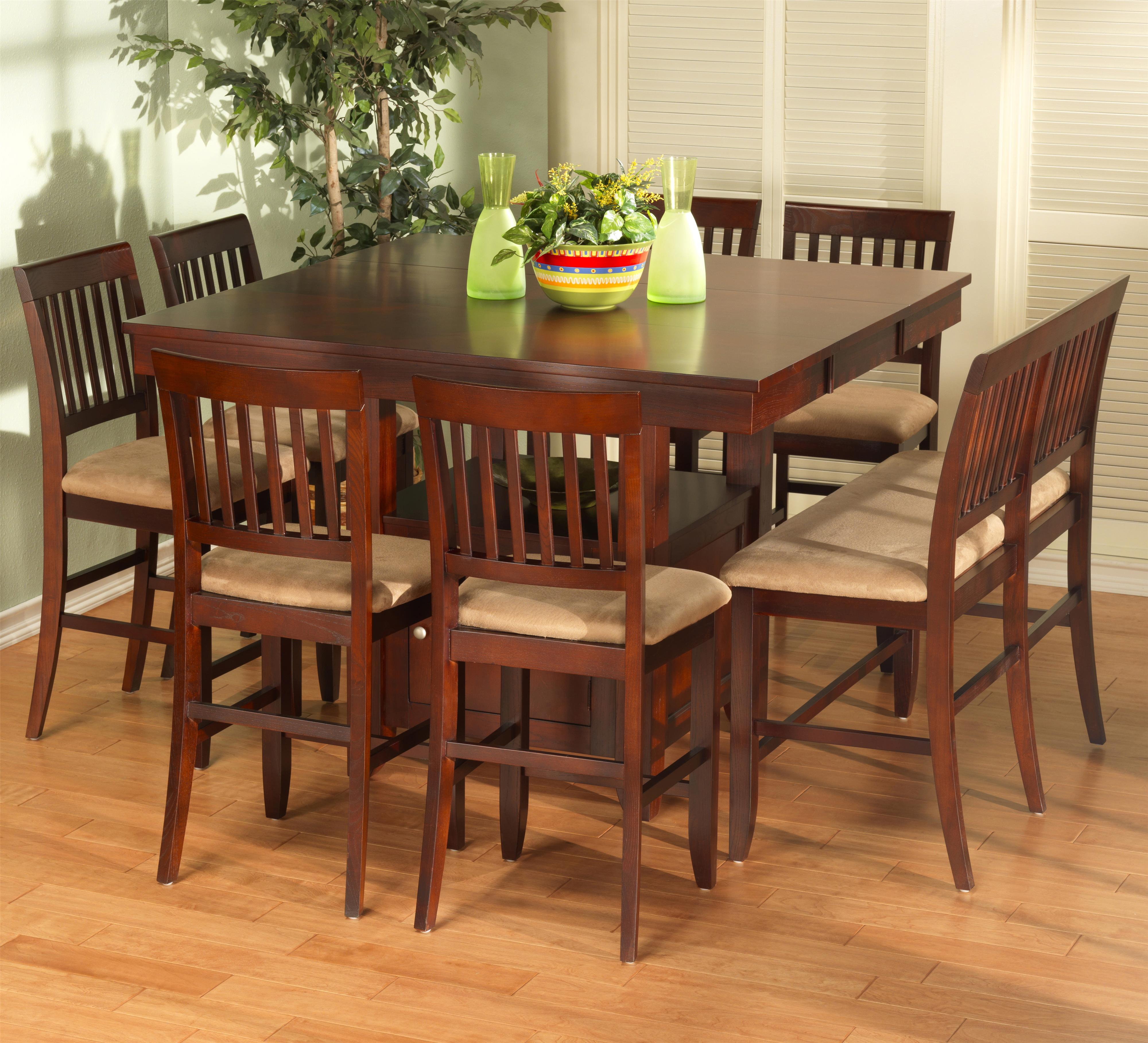 pub table with chairs and bench plaid upholstered new classic brendan 8 piece storage