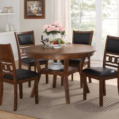Circle Table And Chair Set Tall Round Bar Chairs New Classic Gia D1701 50s Brn Dining