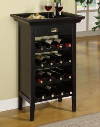 Powell Contemporary Black Stylish Wooden Wine Cabinet ...