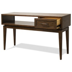 Vogue Chrome Sofa Table White Leather Queen Sleeper Riverside Furniture 1 Drawer Console With Mid