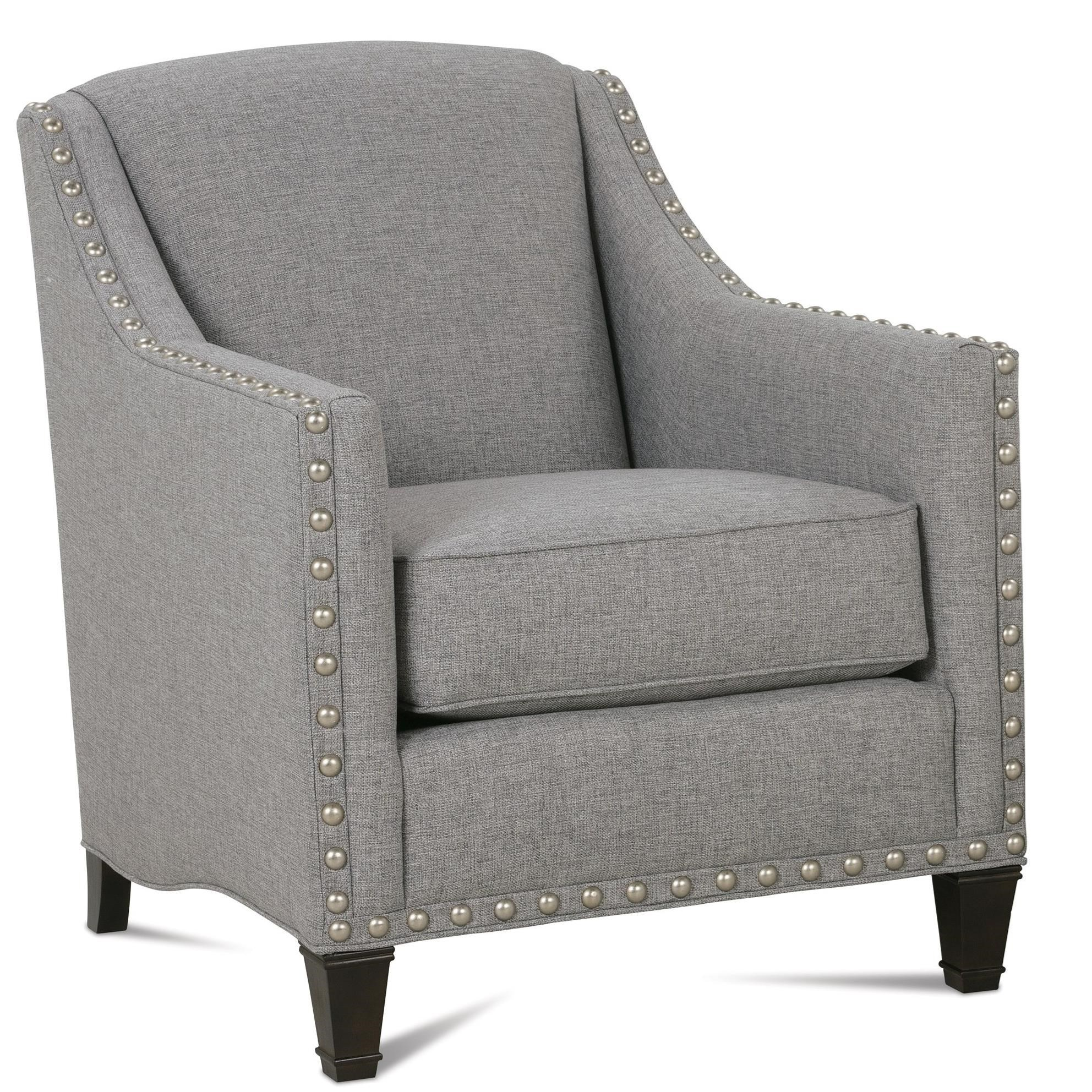 upholstered chair with nailhead trim rattan basket rowe rockford traditional