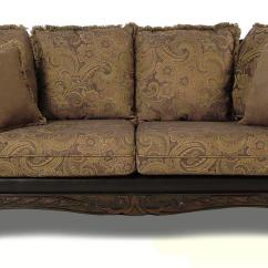 Sofa Reupholstering Stationary Chaise Serta Upholstery Monaco Pillow Back With Carved Wood