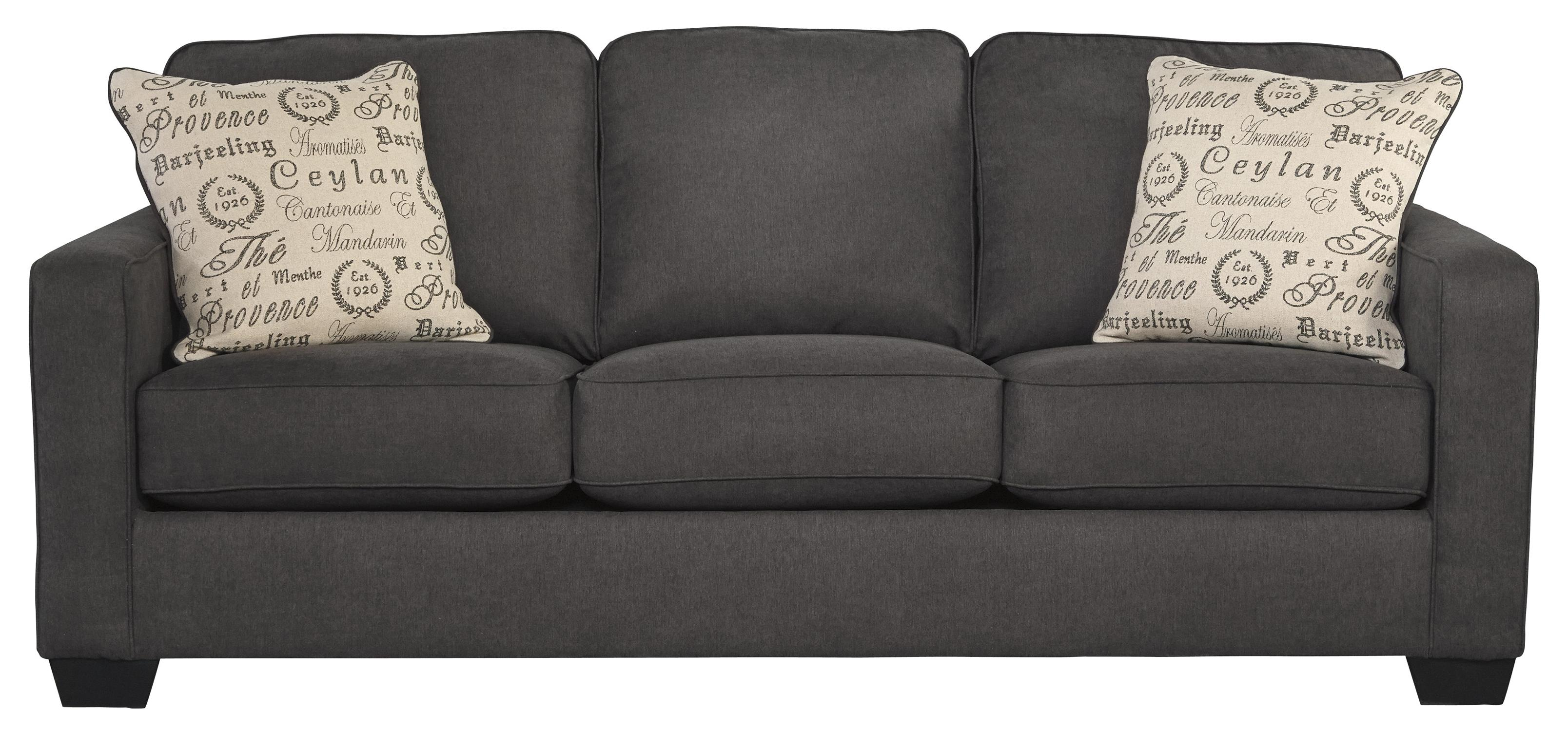 ashley sleeper sofa ter back signature design by alyssa charcoal 1660139