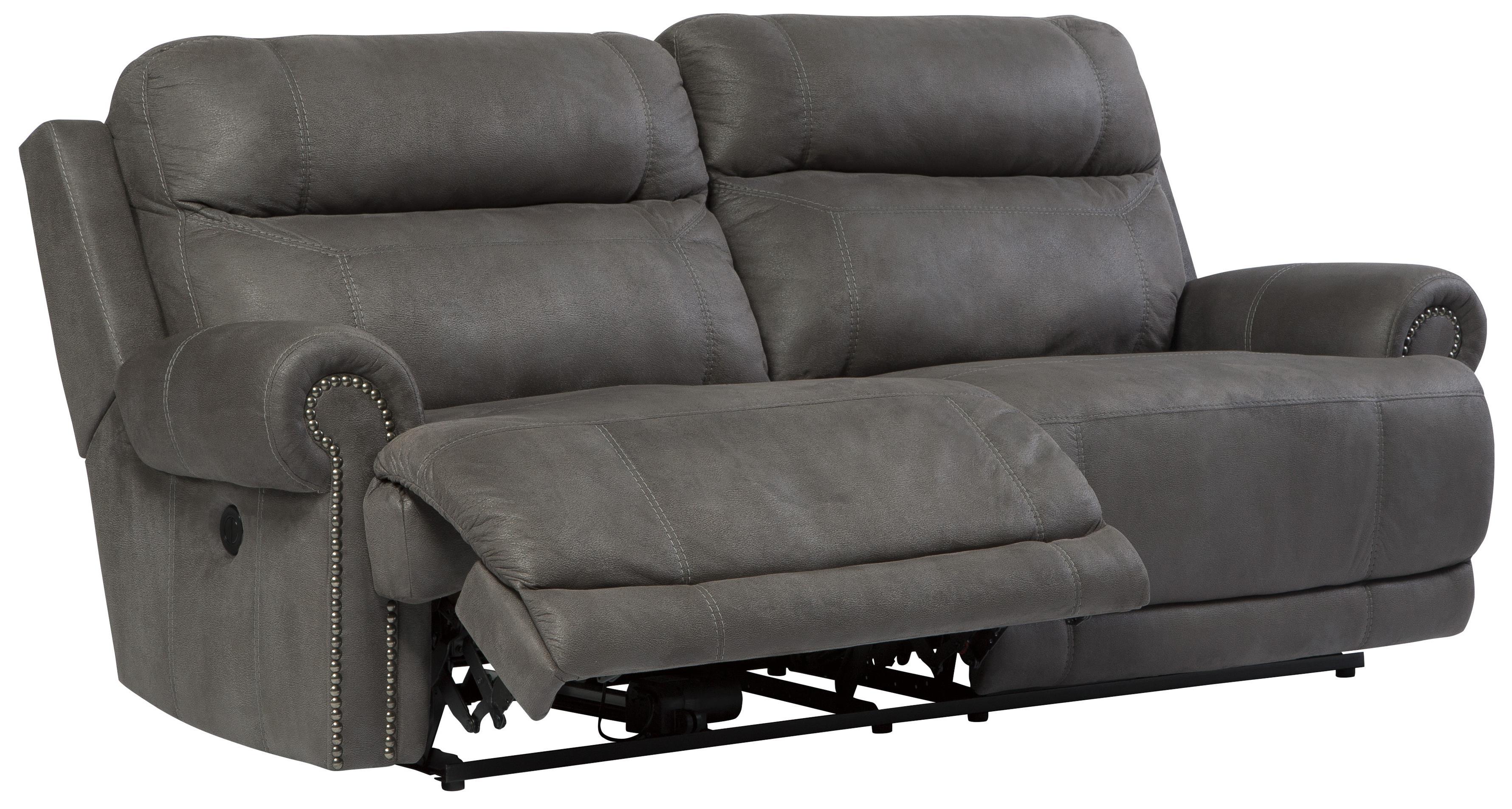 grey carleton nailhead sofa corner leather sofas cheap signature design by ashley austere gray 3840181 2 seat