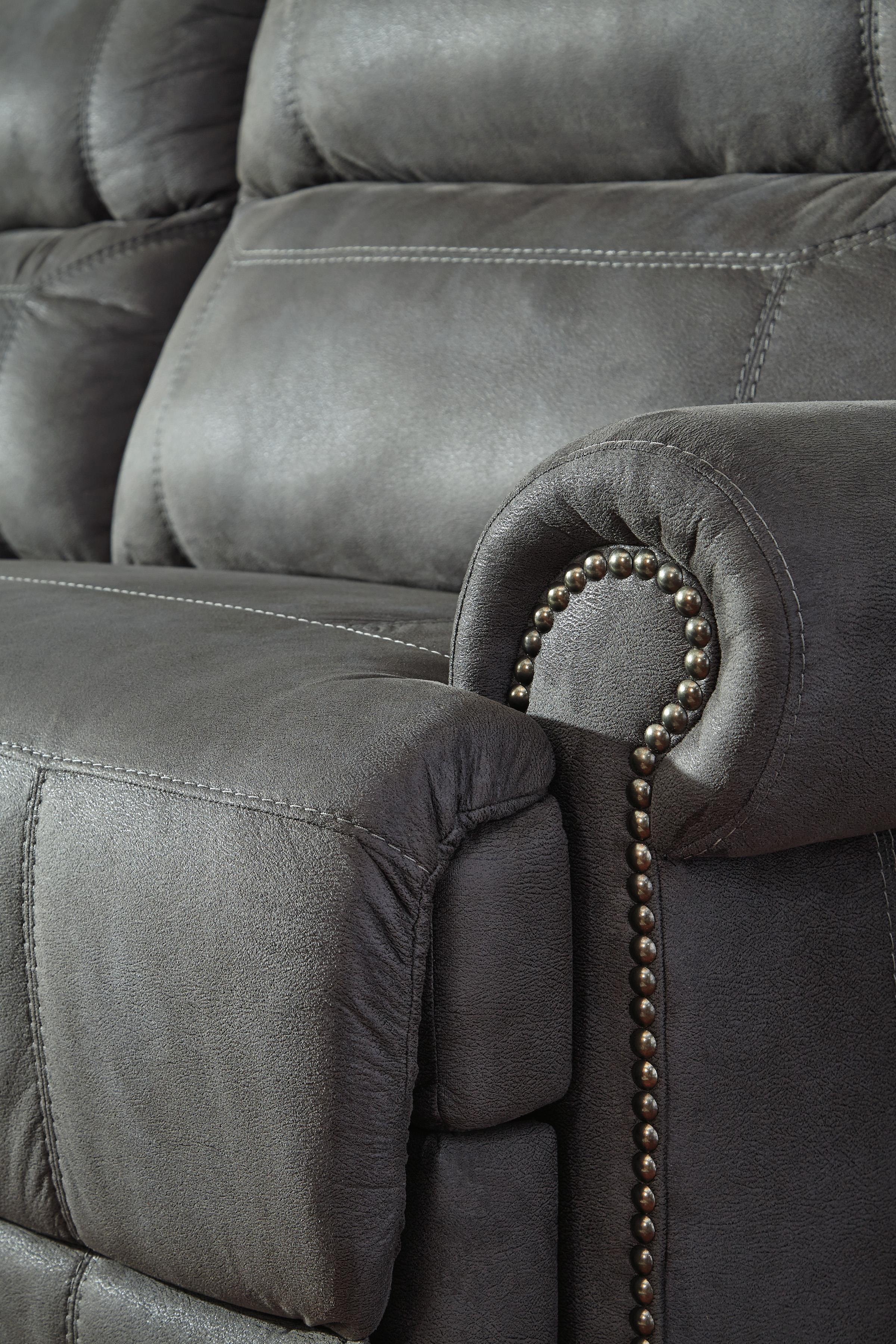 reclining sofa with nailhead trim cheap teal bed ashley signature design austere gray 2 seat