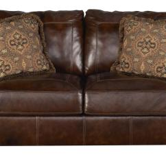 Ashley Axiom Leather Sofa Top Grain Sleeper Signature Design Walnut 4200035 Traditional
