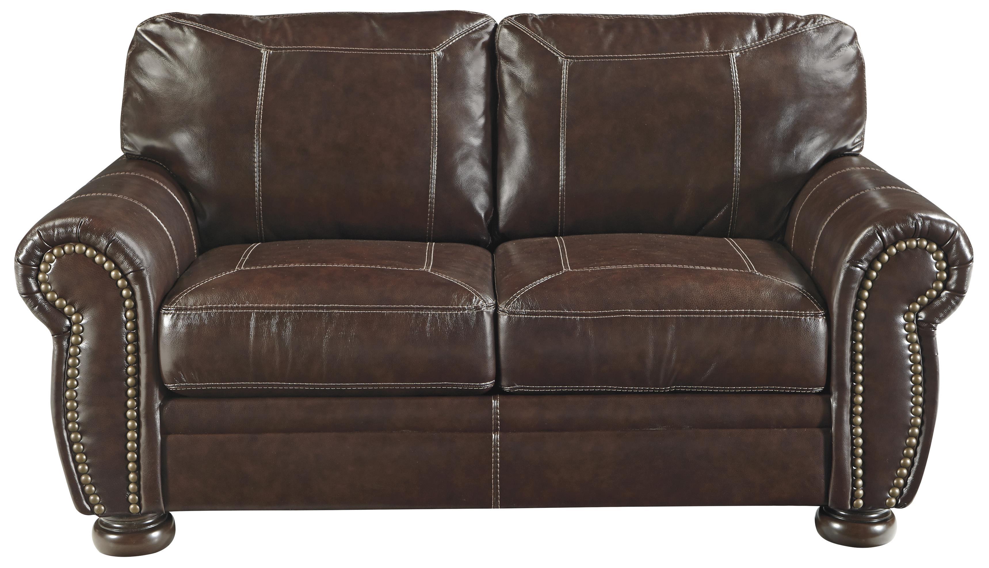 nailhead trim leather sofa set ikea kivik cover uk signature design by ashley banner traditional