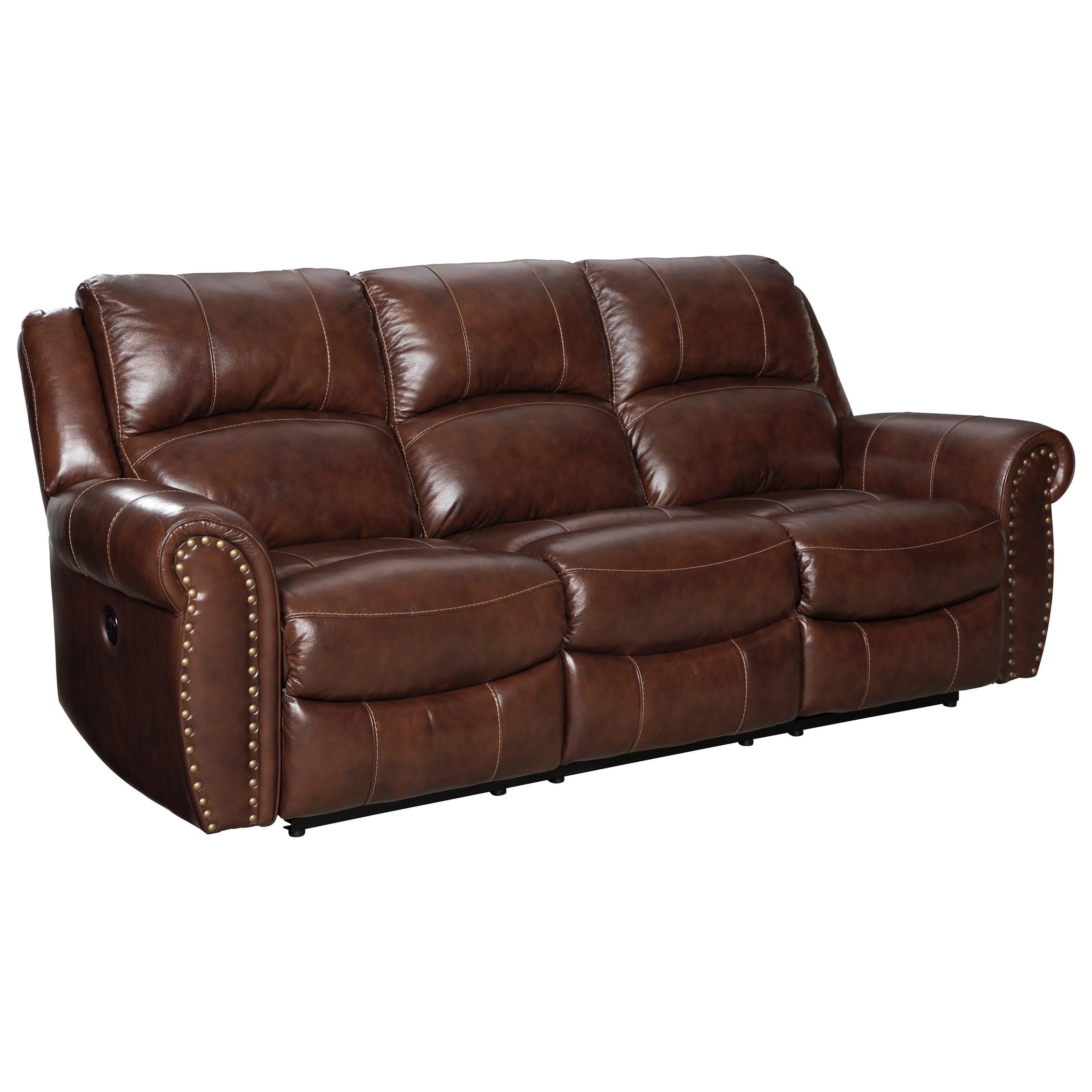 reclining sofa with nailhead trim bed leather ashley signature design bingen u4280288 traditional