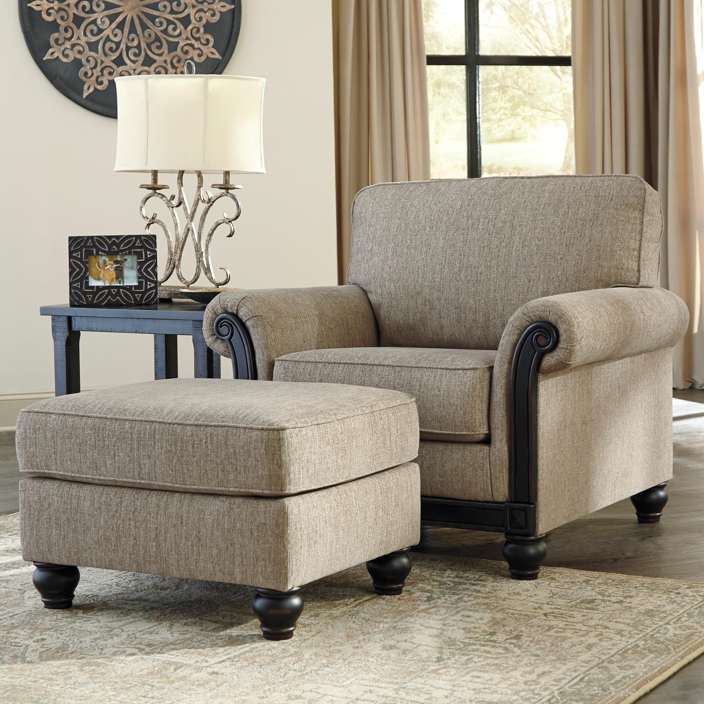 ashley chair and ottoman sling material signature design by blackwood transitional