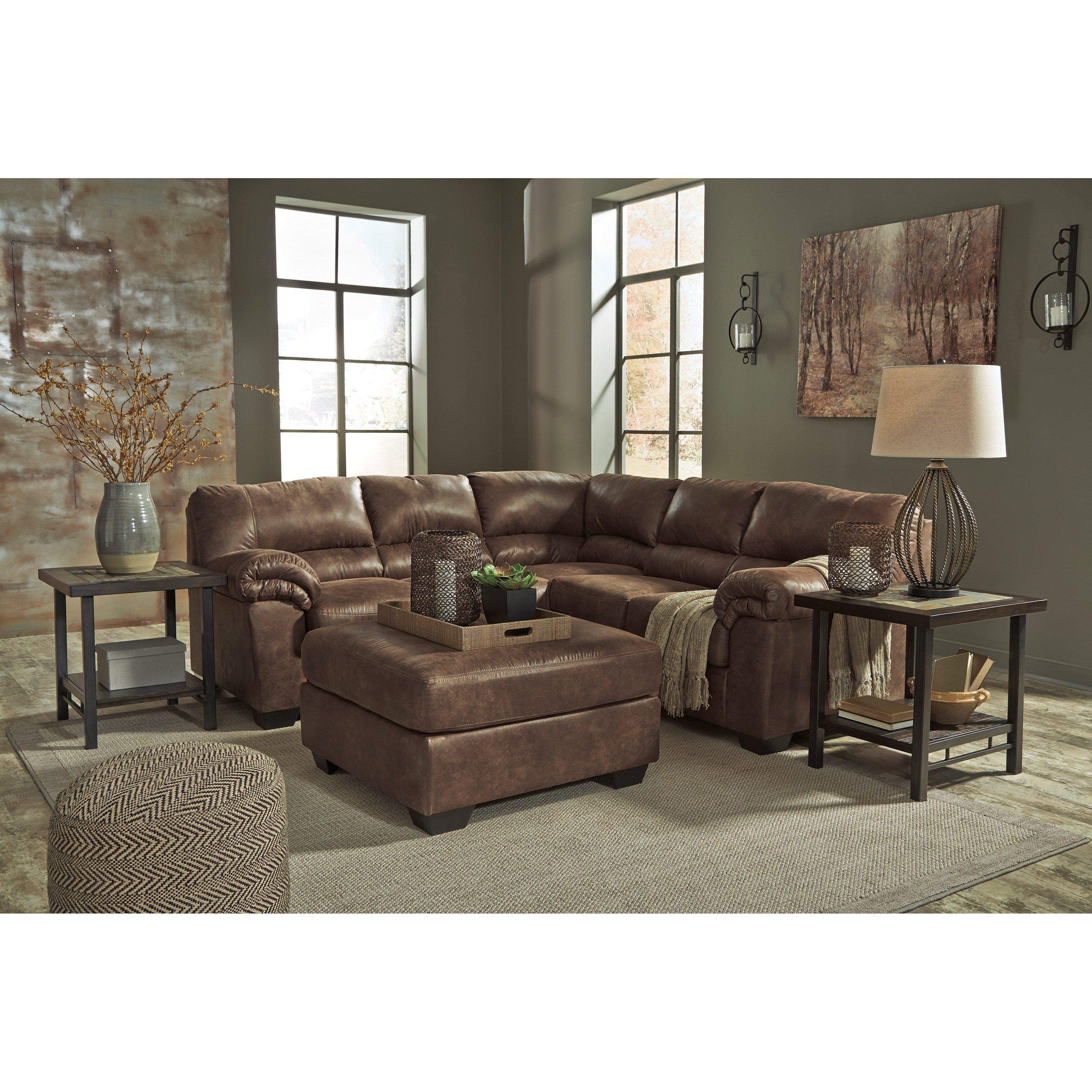 sofa ashley barcelona 2 cuerpos raleigh in fabric signature design bladen two piece faux leather