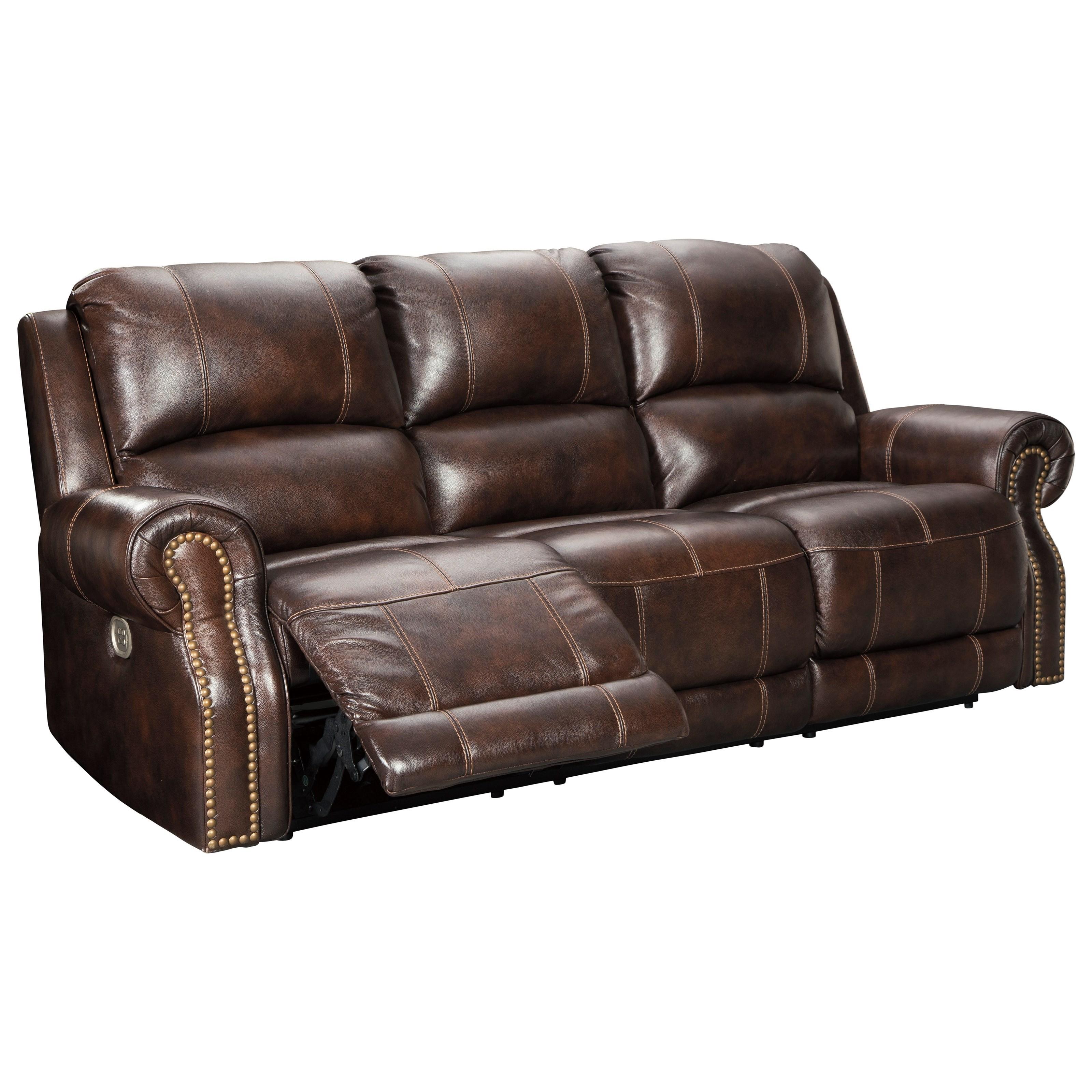 reclining sofa with nailhead trim white family room ashley signature design buncrana u8460415 traditional