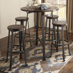 Tall Round Bar Table And Chairs Bamboo Chair Ashley Signature Design Challiman 5 Piece