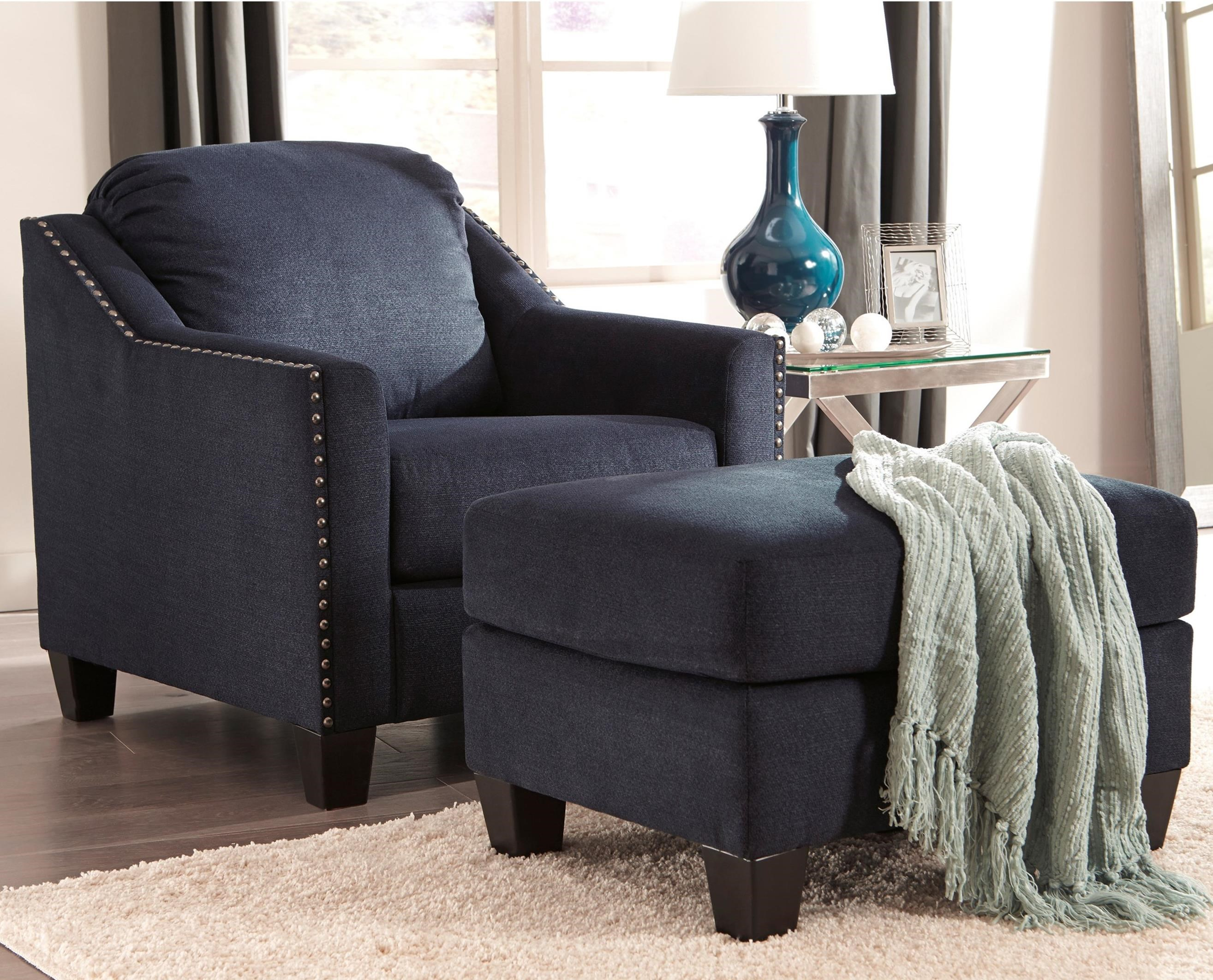 ashley chair and ottoman graco wooden high cover benchcraft by creeal heights nailhead studded
