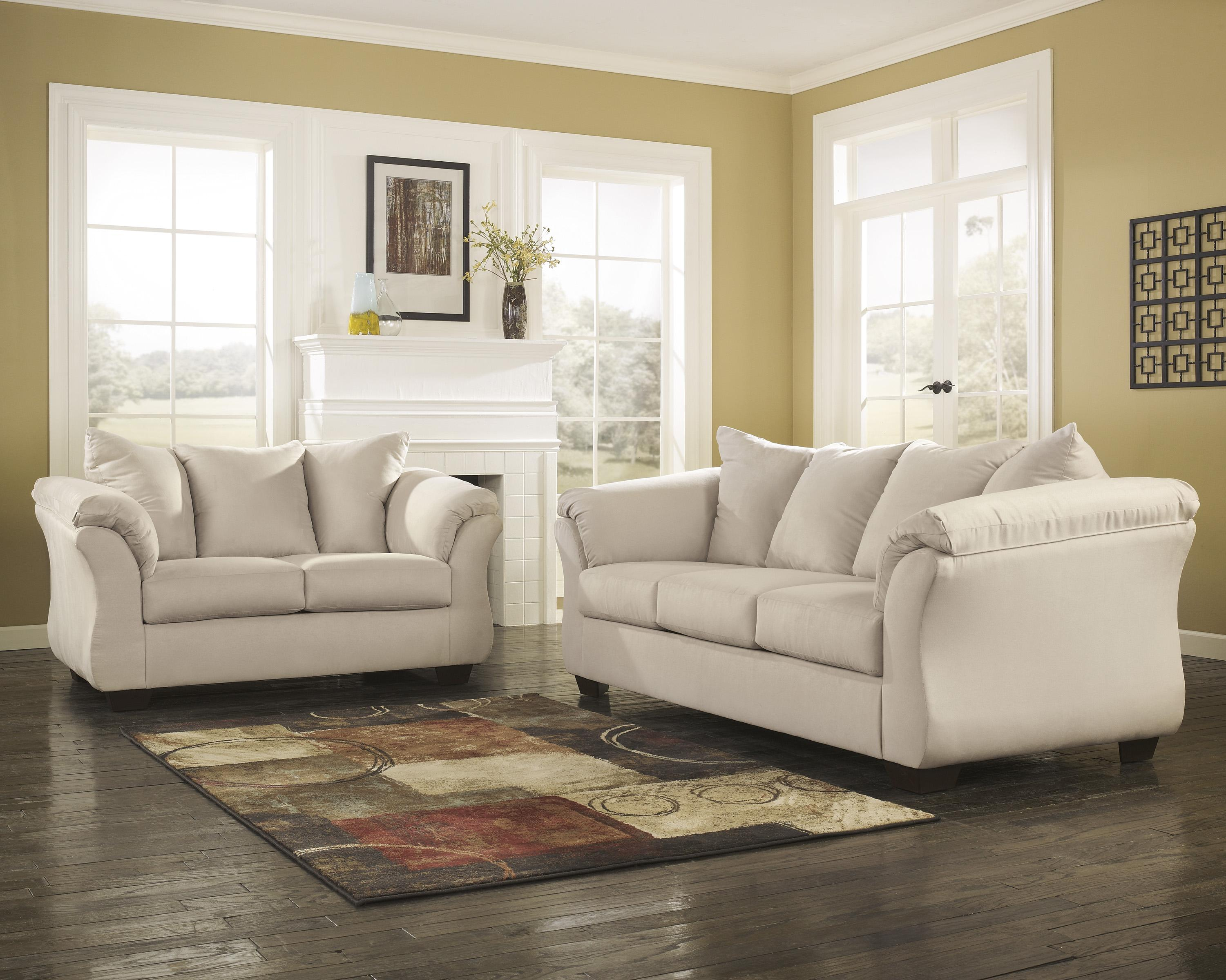 living room sofa and loveseat wood frame signature design by ashley darcy stone stationary