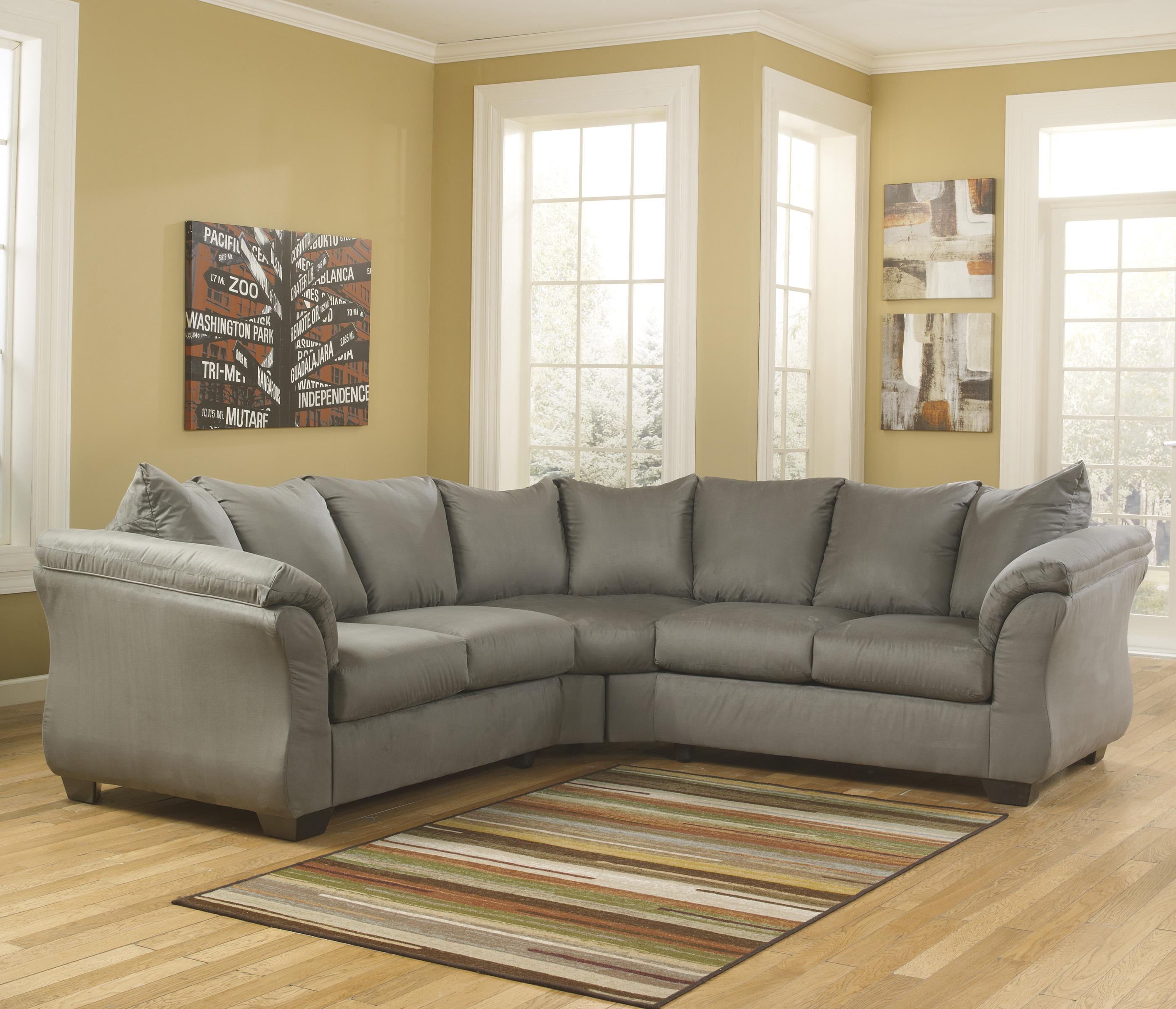 sofa ashley barcelona 2 cuerpos grey leather and loveseat signature design darcy cobblestone contemporary