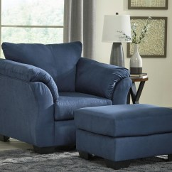 Ashley Chair And Ottoman Velvet Arm Signature Design Darcy Blue Contemporary