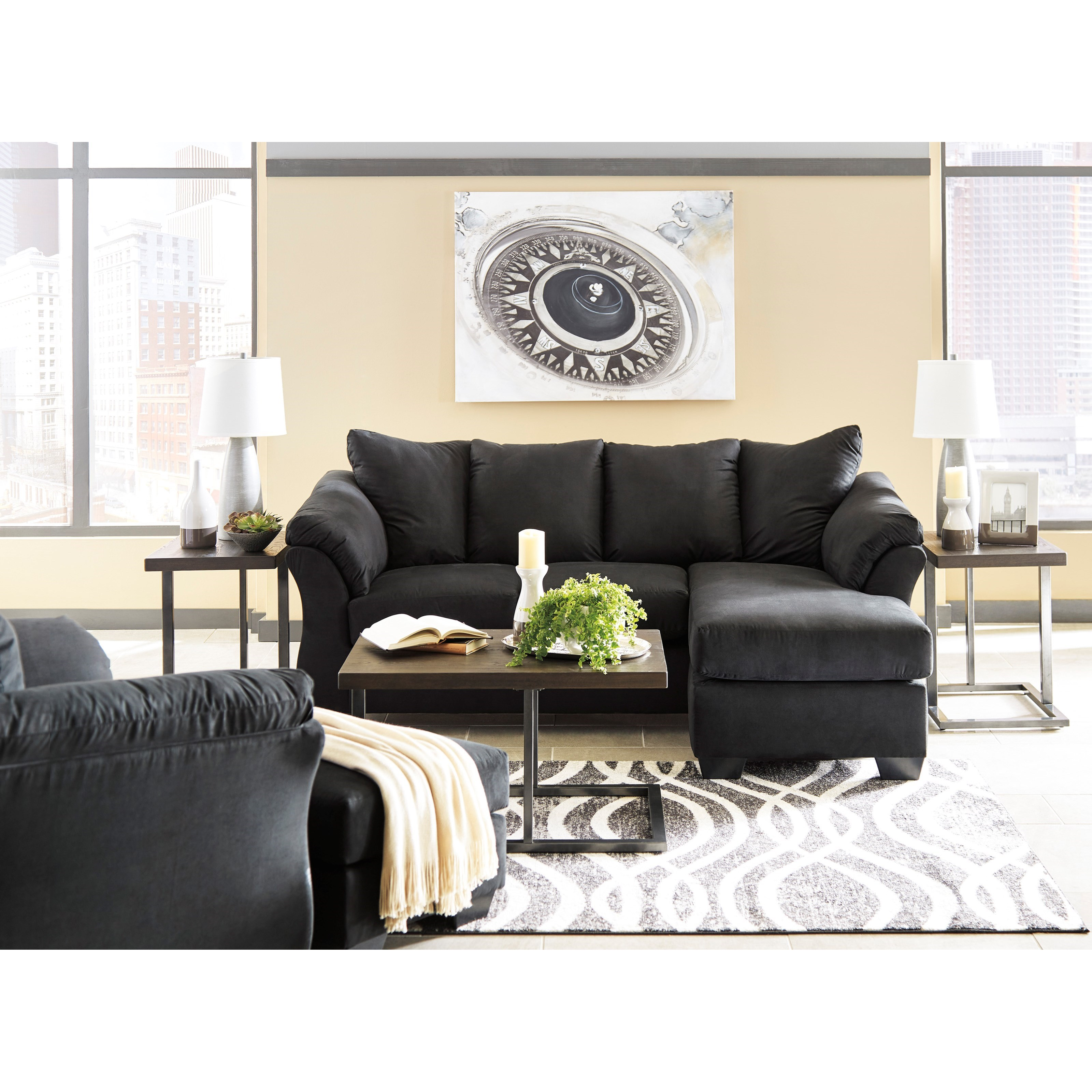 darcy sofa chaise ashley furniture dakota corner bed signature design black contemporary