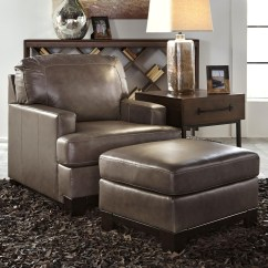 Ashley Chair And Ottoman Cover Rentals Victoria Signature Design By Derwood Contemporary Leather