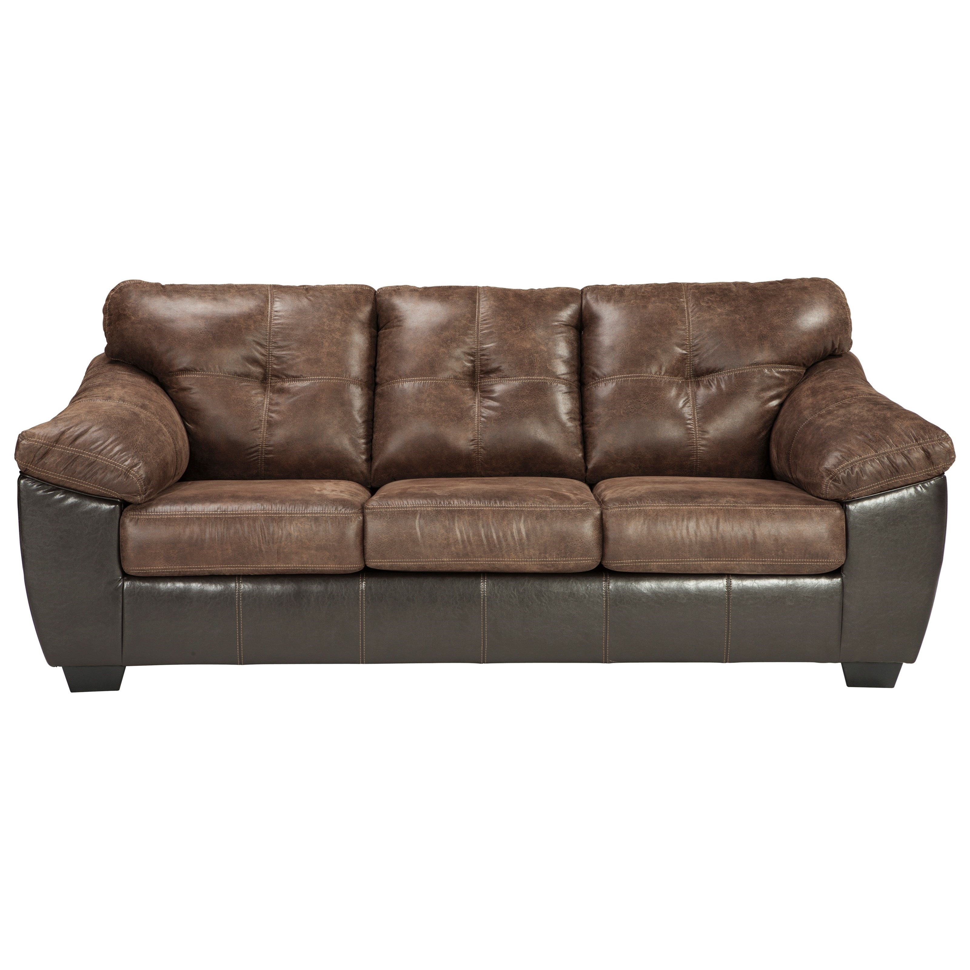 leather sectional sleeper sofa queen pu repair signature design by ashley gregale 9160339 two tone faux