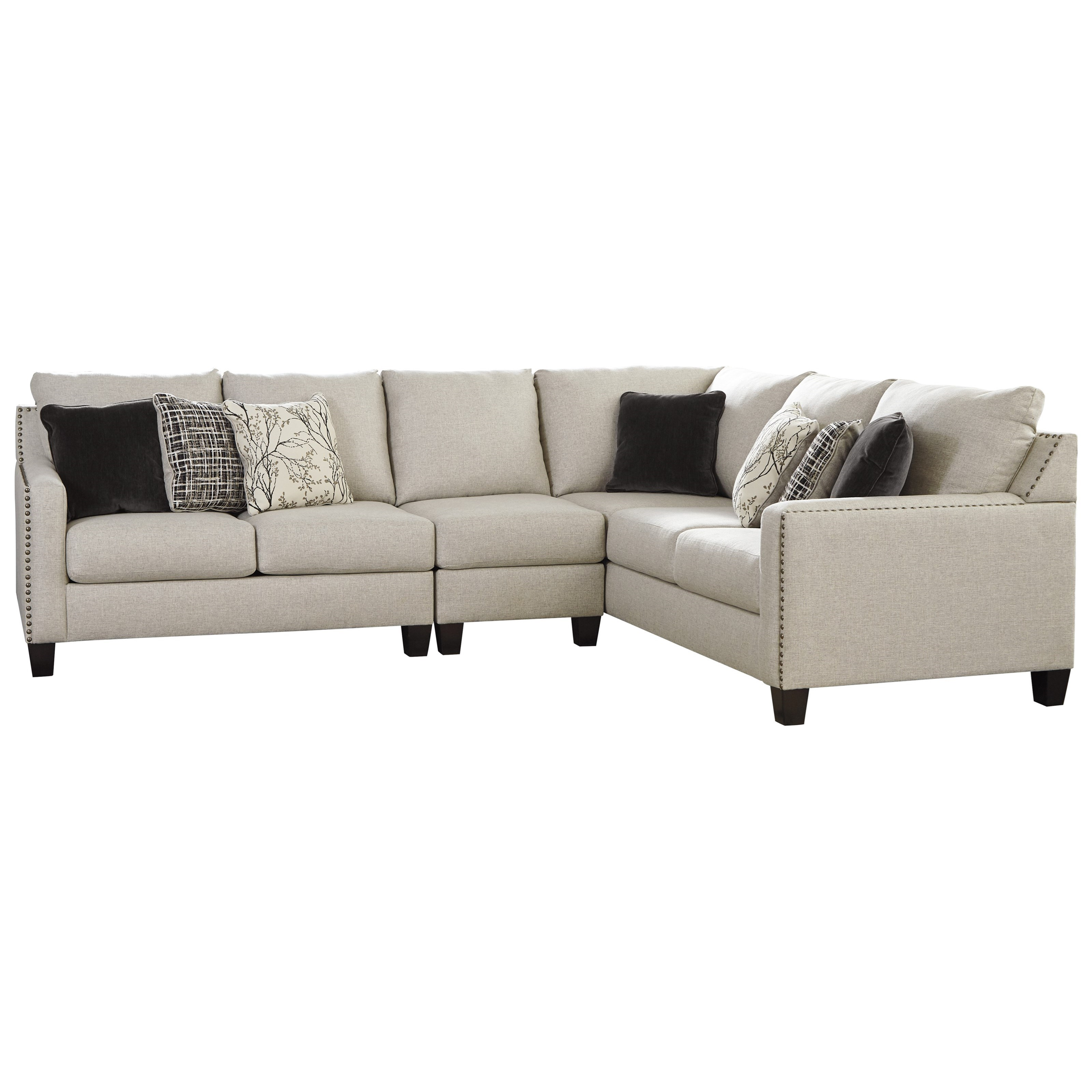 nailhead trim sofa ashley mixing leather and fabric loveseat signature design hallenberg three piece sectional