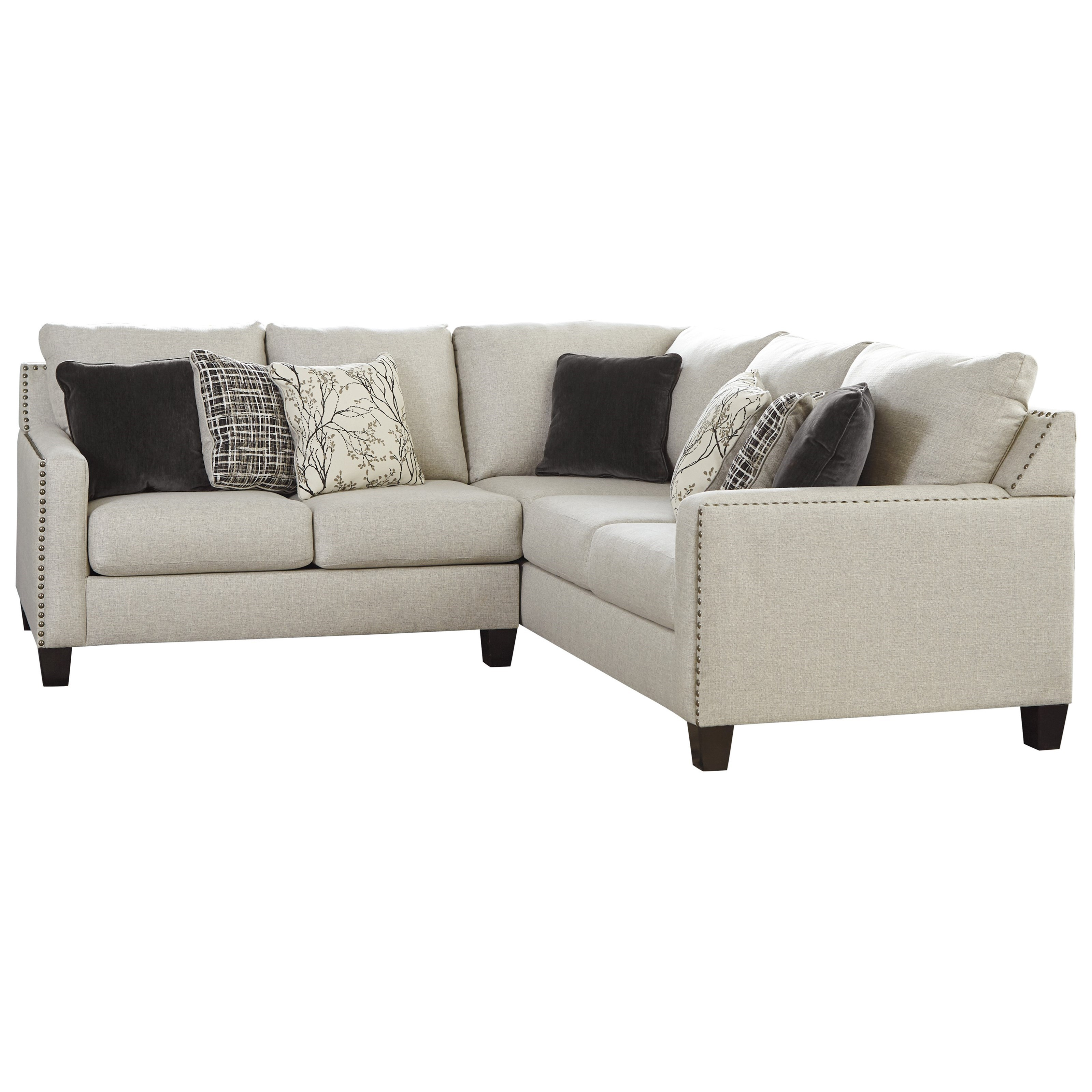 nailhead trim sofa ashley fold out chair bed signature design by hallenberg two piece sectional