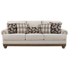 Nailhead Trim Sofa Ashley Long Mahogany Table Signature Design By Harleson Transitional With