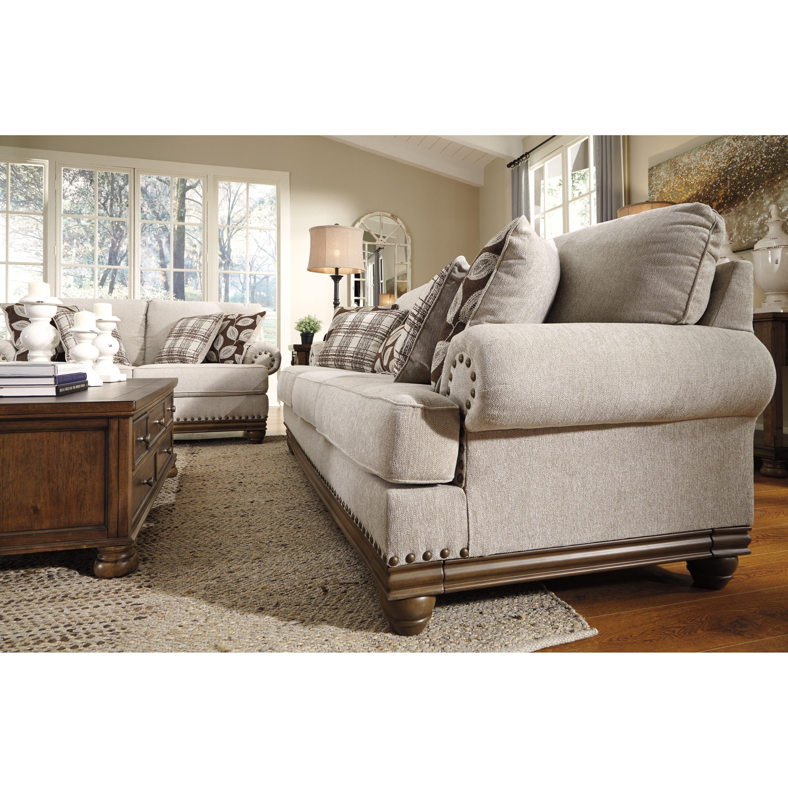 nailhead trim sofa ashley blue leather on sale signature design harleson 1510438 transitional