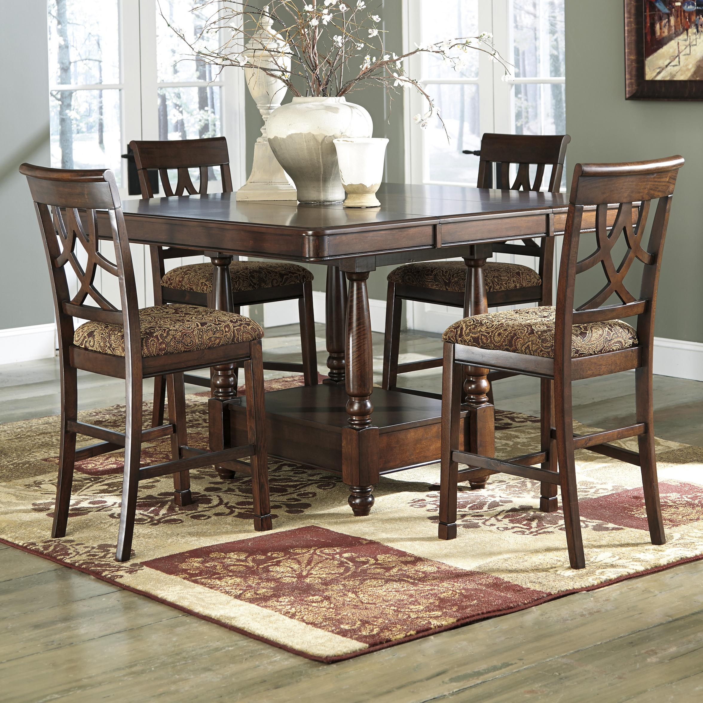 ashley furniture kitchen table and chairs with canopy signature design by leahlyn 5 piece cherry finish