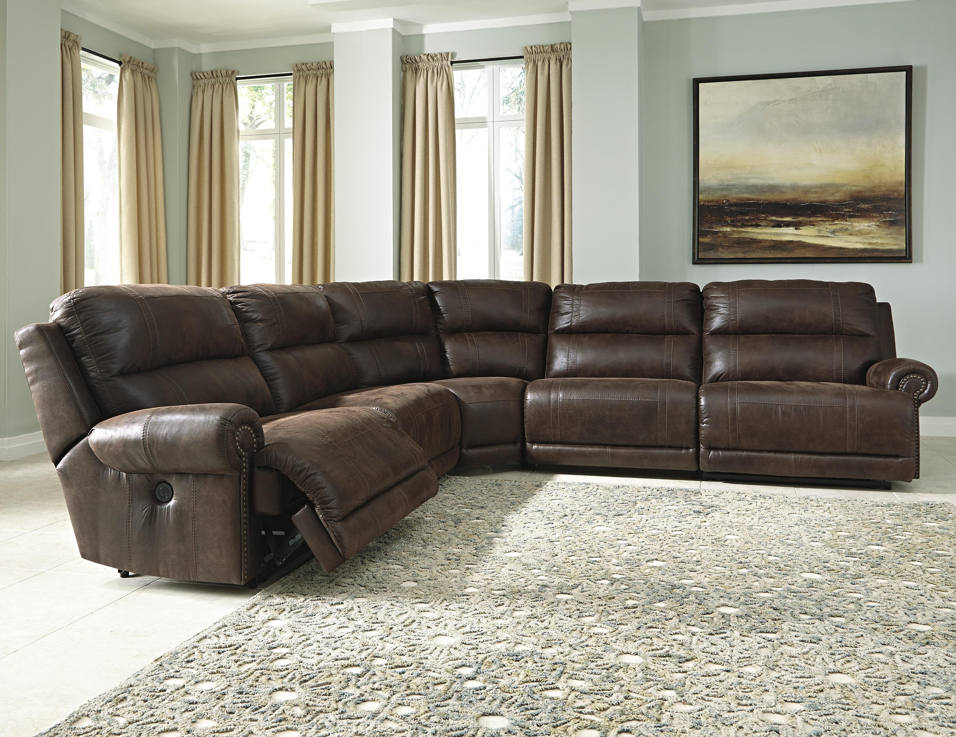 caruso leather 5 piece power motion sectional sofa retro nz ashley signature design luttrell faux