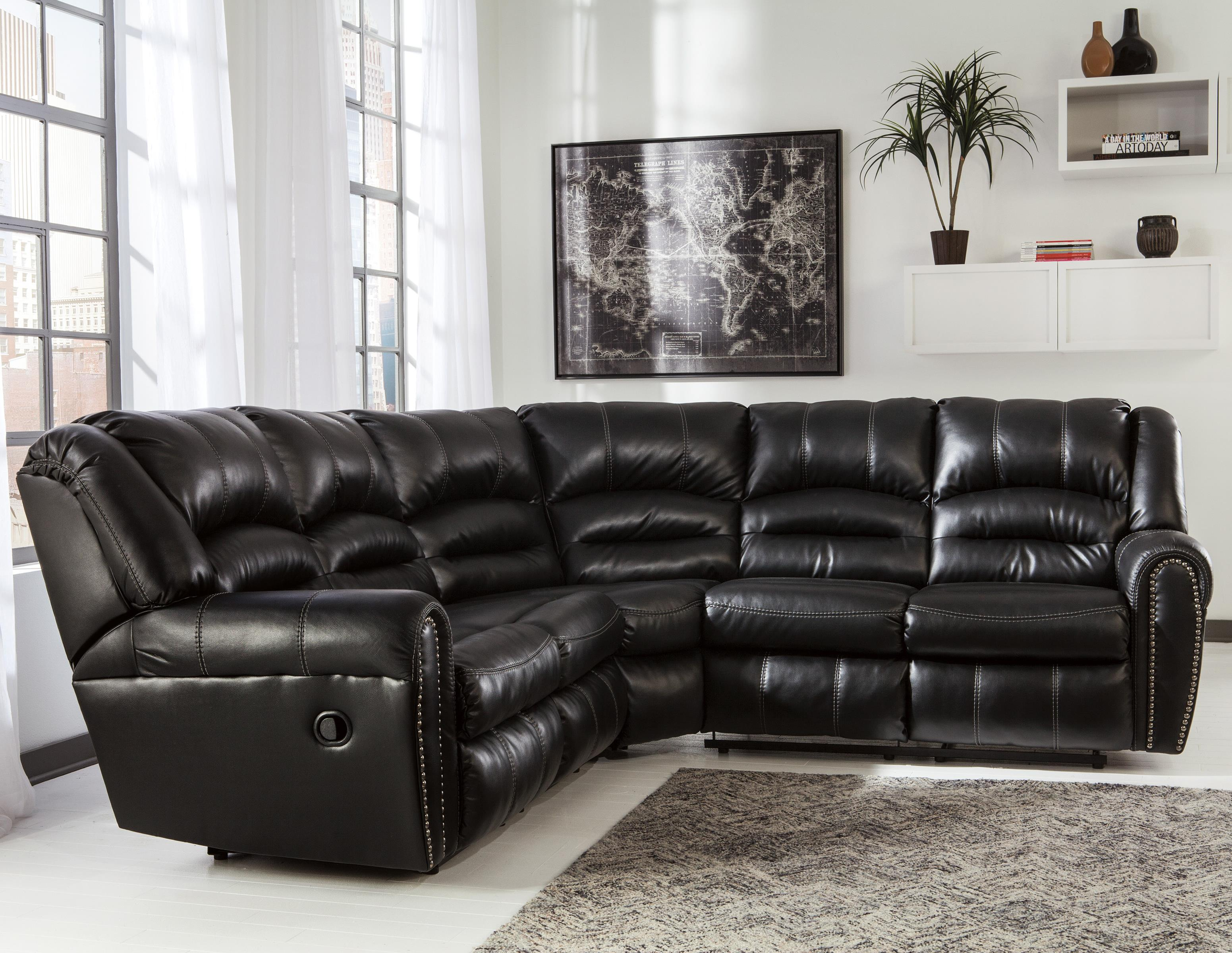 reclining sofa with nailhead trim rattan table set signature design by ashley manzanola sectional